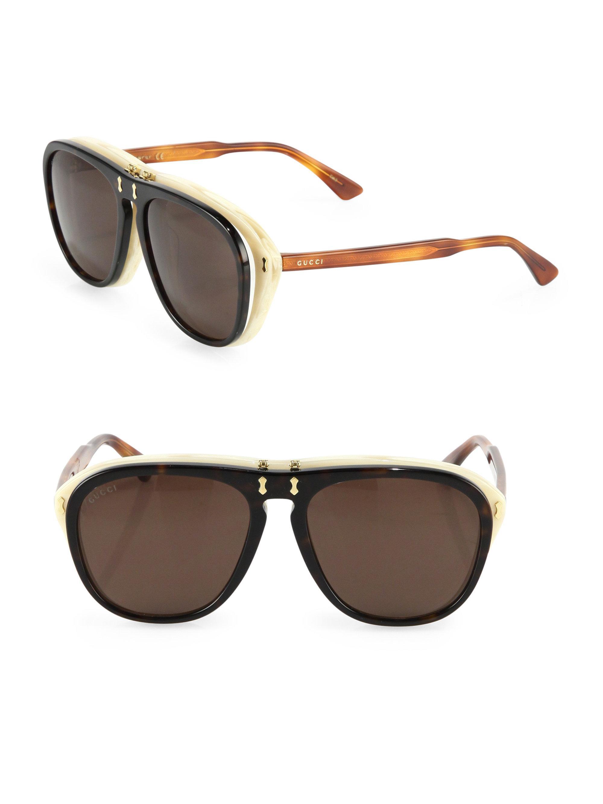 e45899e88 Gucci 56mm Flip-up Pilot Sunglasses for Men - Lyst