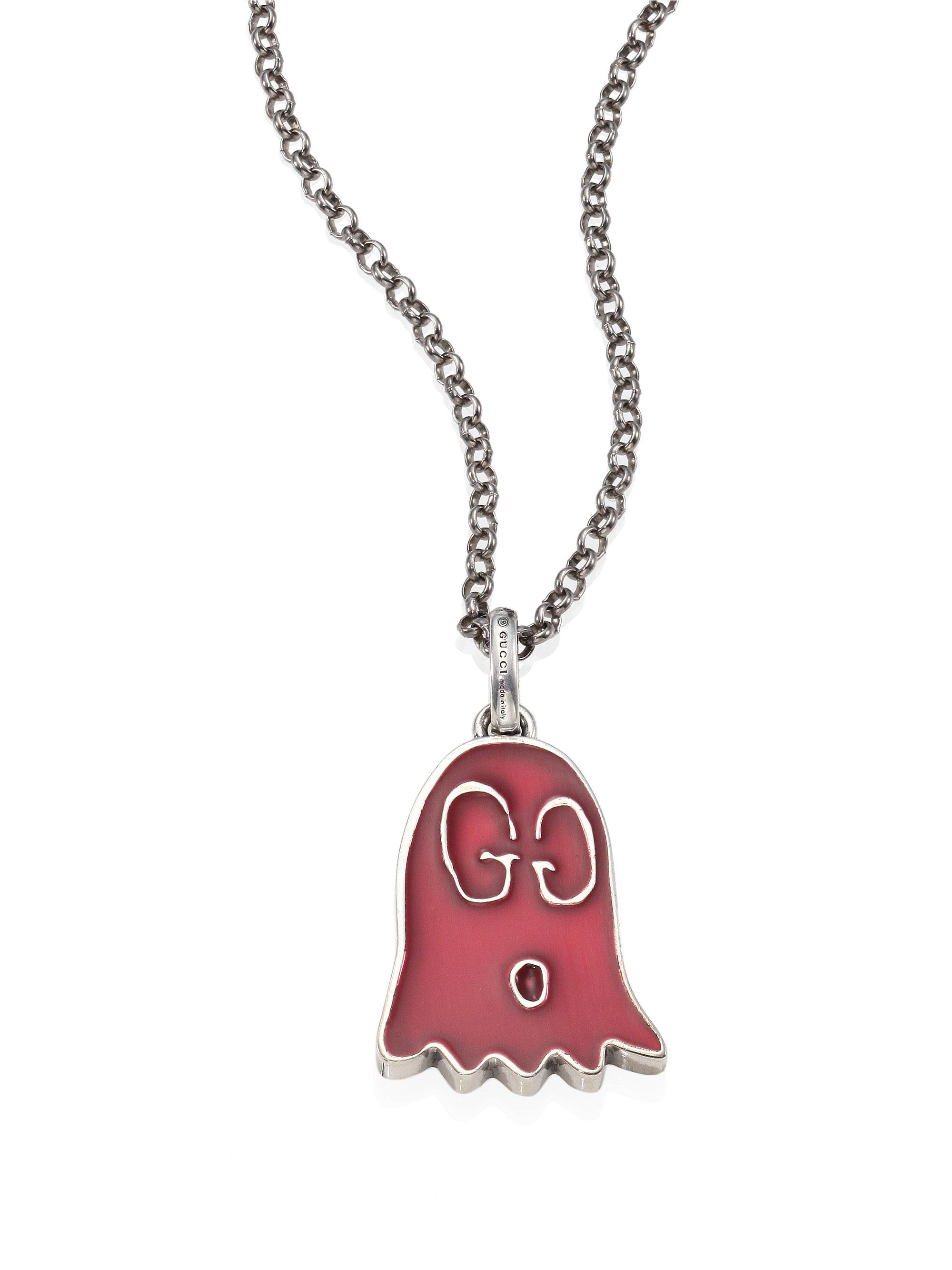 Gucci Red Ghost Sterling Silver Ghost Pendant Necklace