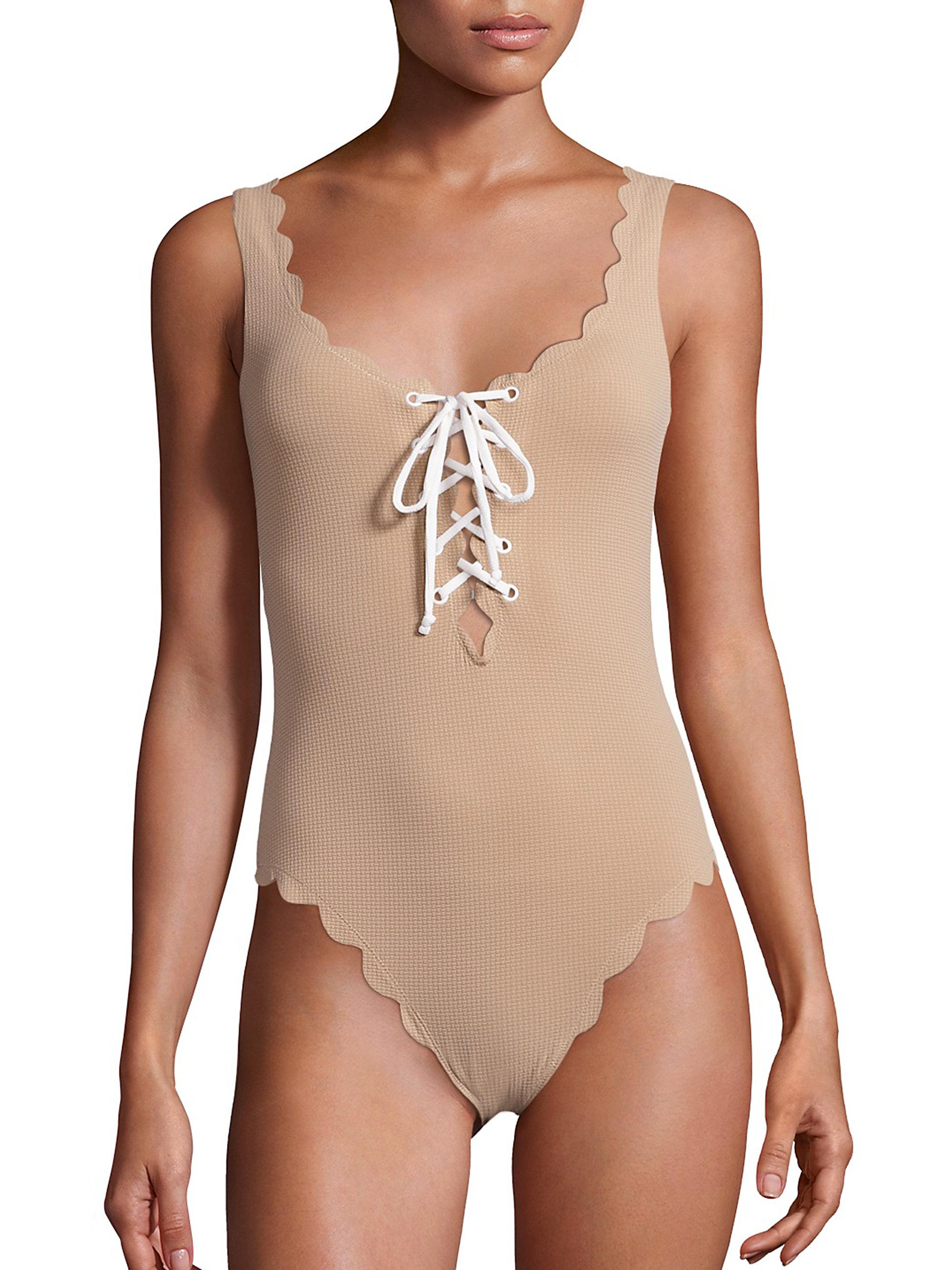 f7743ca085f Marysia Swim Palm Springs One-piece Textured Lace-up Maillot in ...