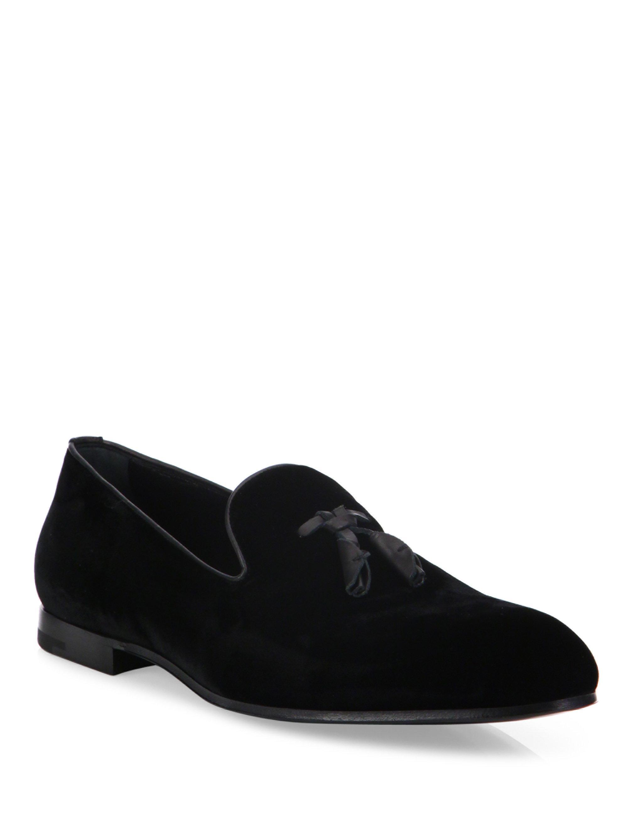 ermenegildo zegna velvet slip on dress shoes in black for