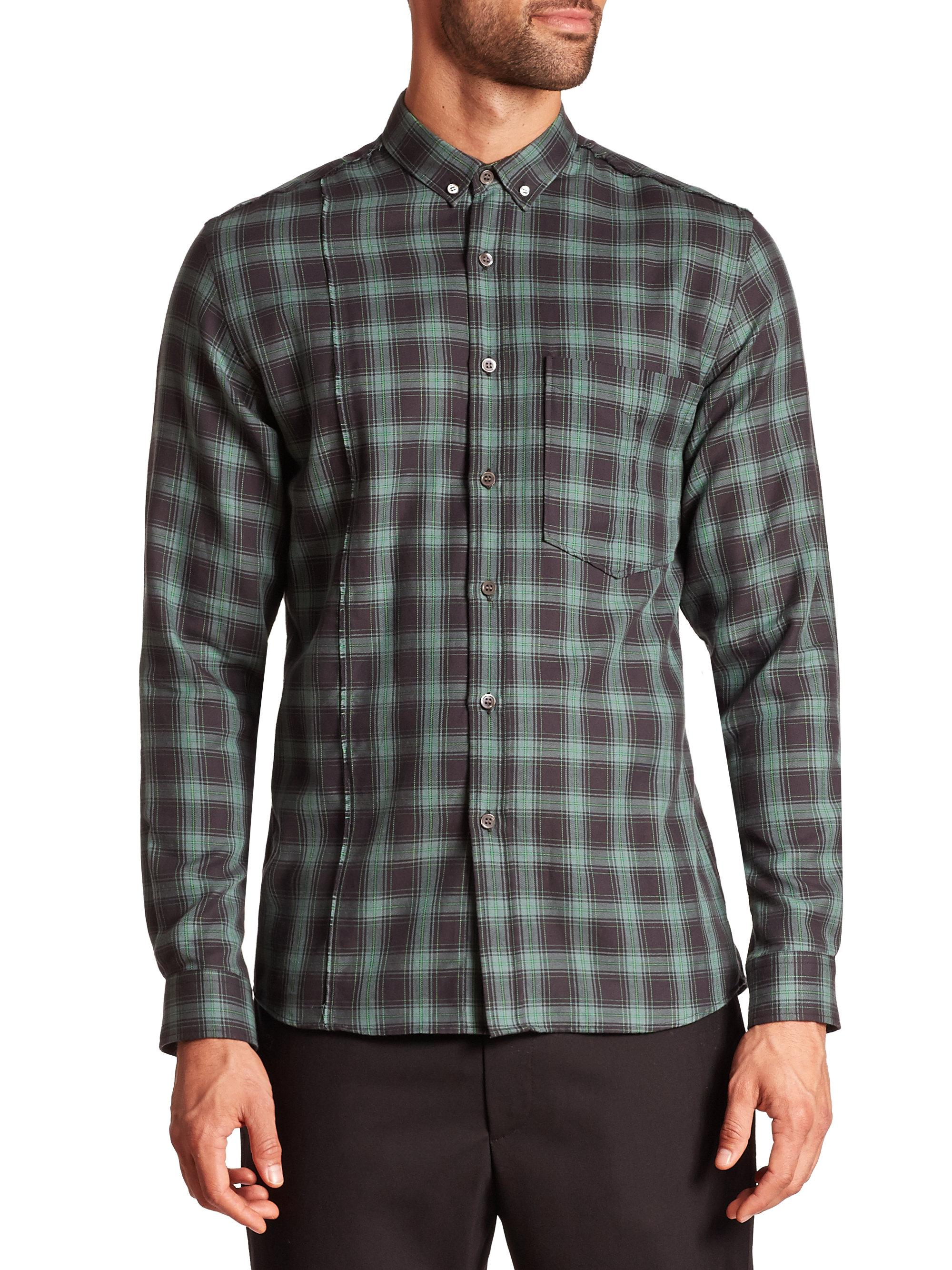 Public school Plaid Button-down Shirt in Green for Men | Lyst