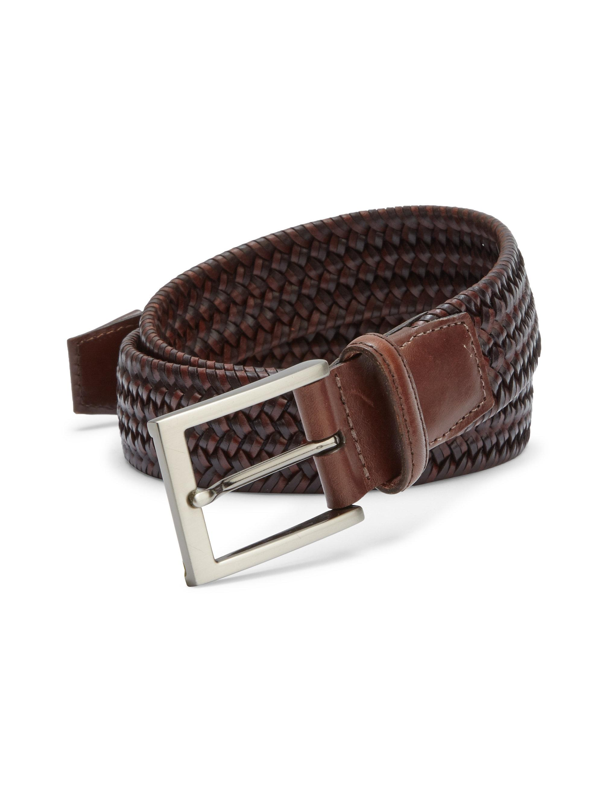 saks fifth avenue braided leather blend belt in brown for