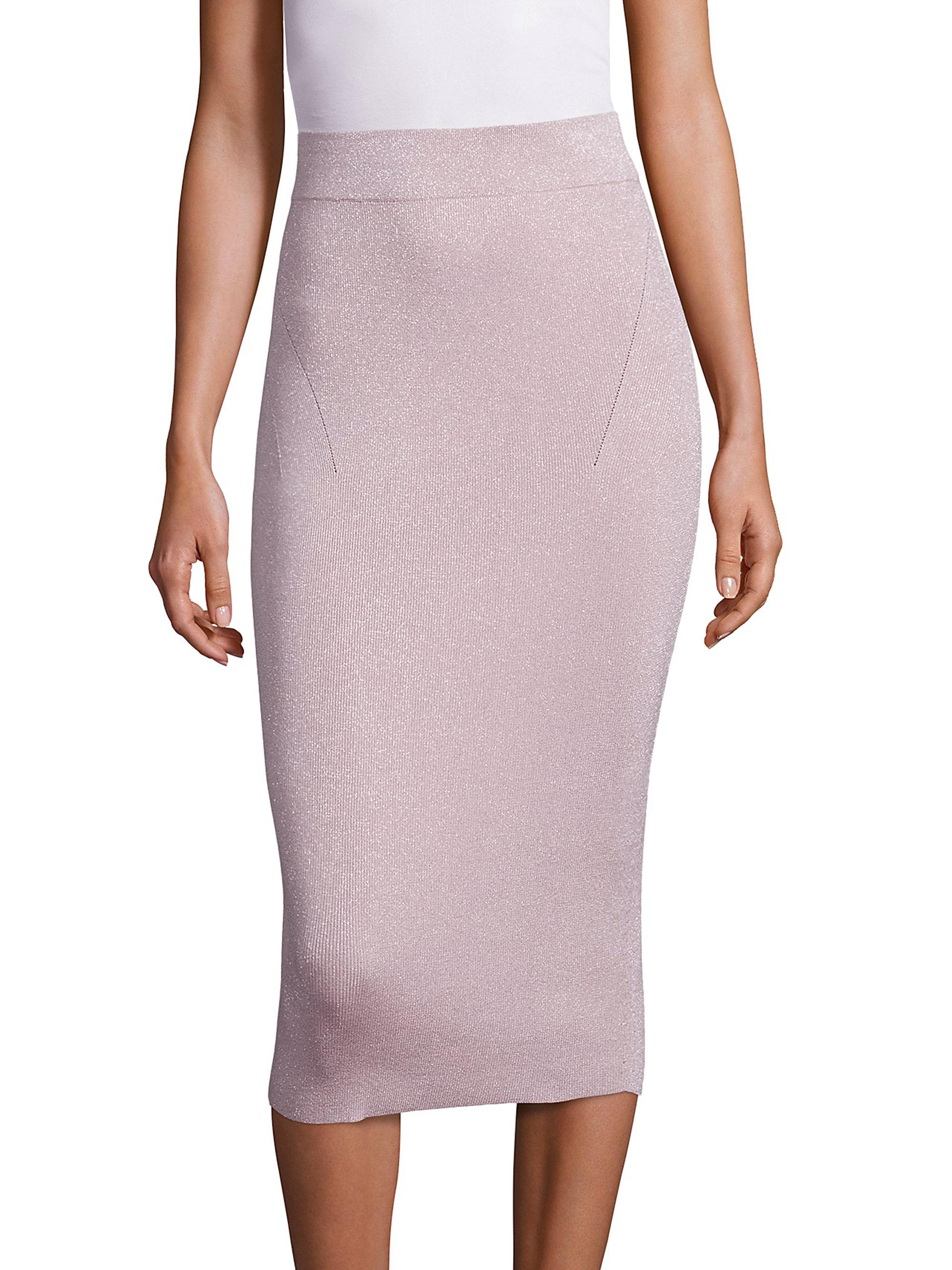 cushnie et ochs knit metallic pencil skirt lyst