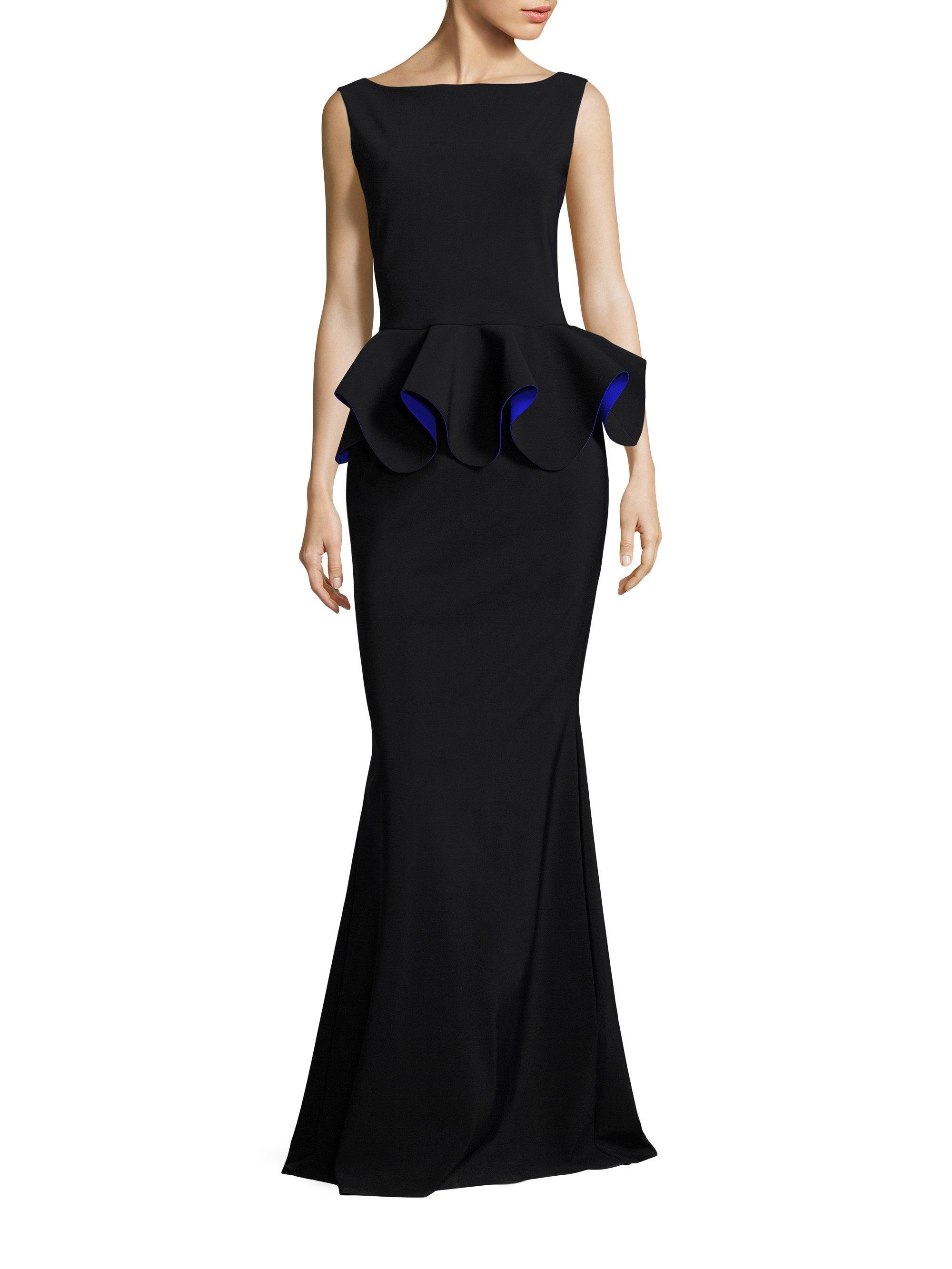 lyst la petite robe di chiara boni eden peplum gown in black. Black Bedroom Furniture Sets. Home Design Ideas