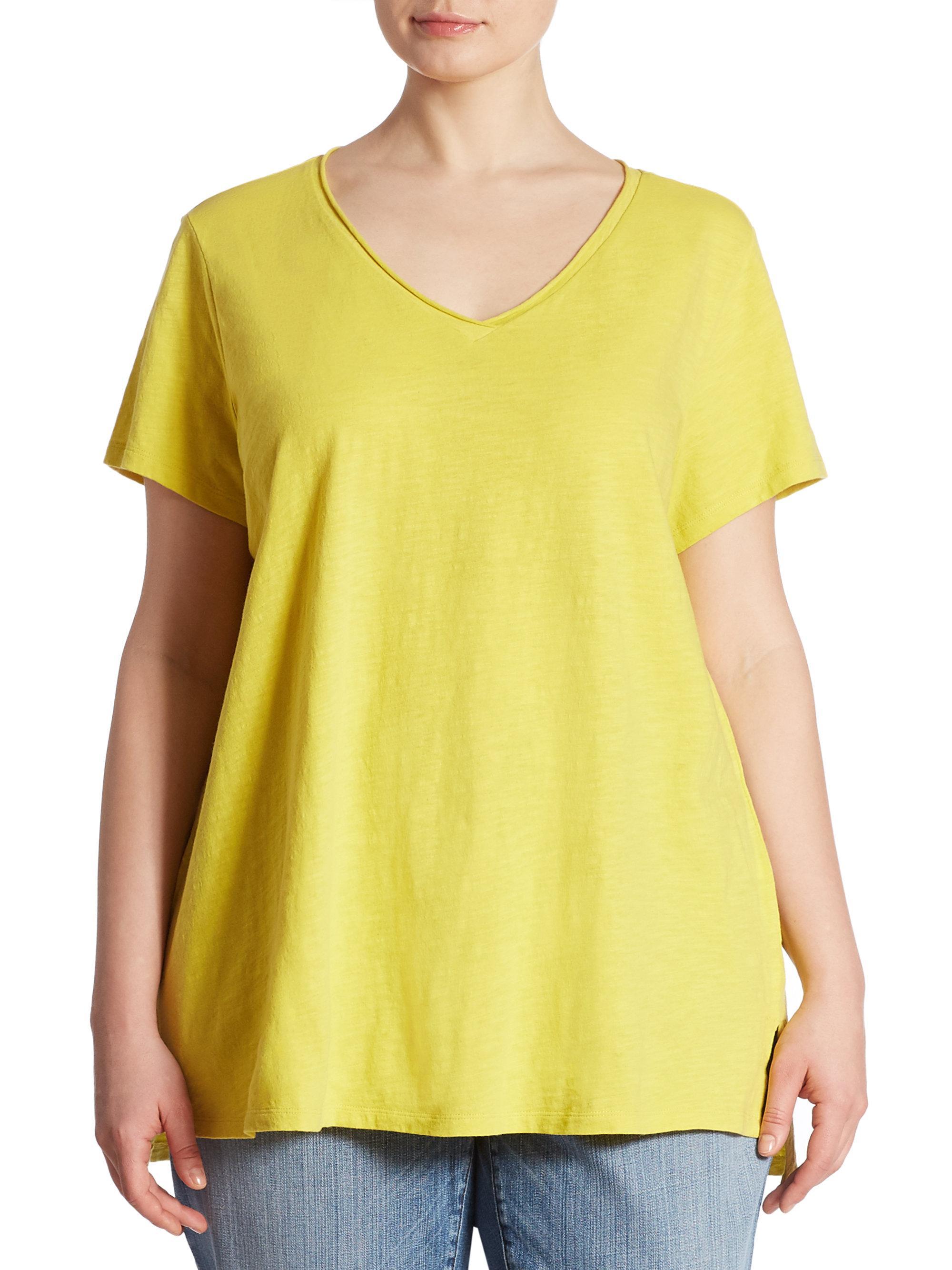 Eileen fisher slub organic cotton tee in yellow lyst for Eileen fisher organic cotton t shirt