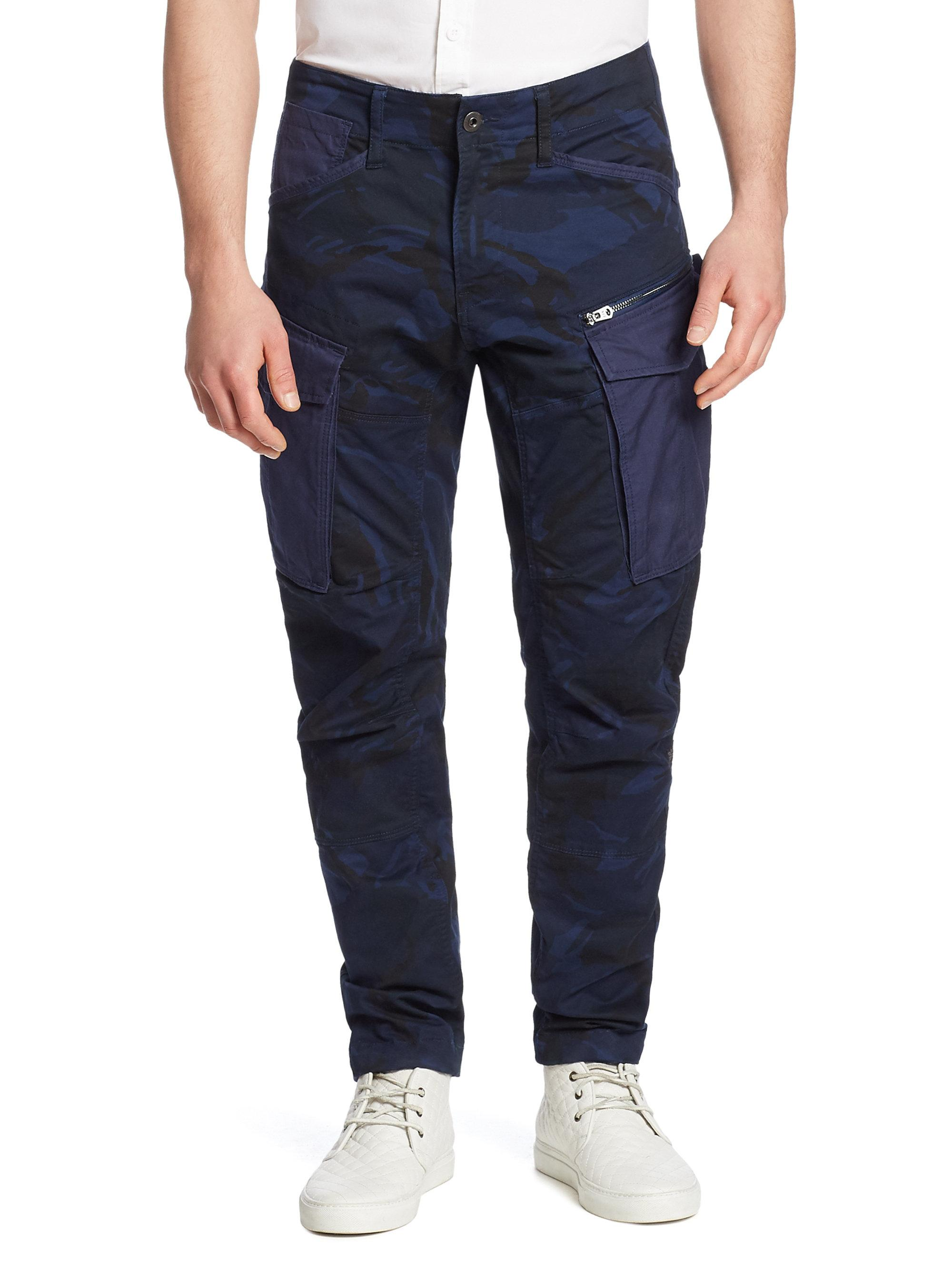 g star raw rovic camo cargo pants in blue for men lyst. Black Bedroom Furniture Sets. Home Design Ideas