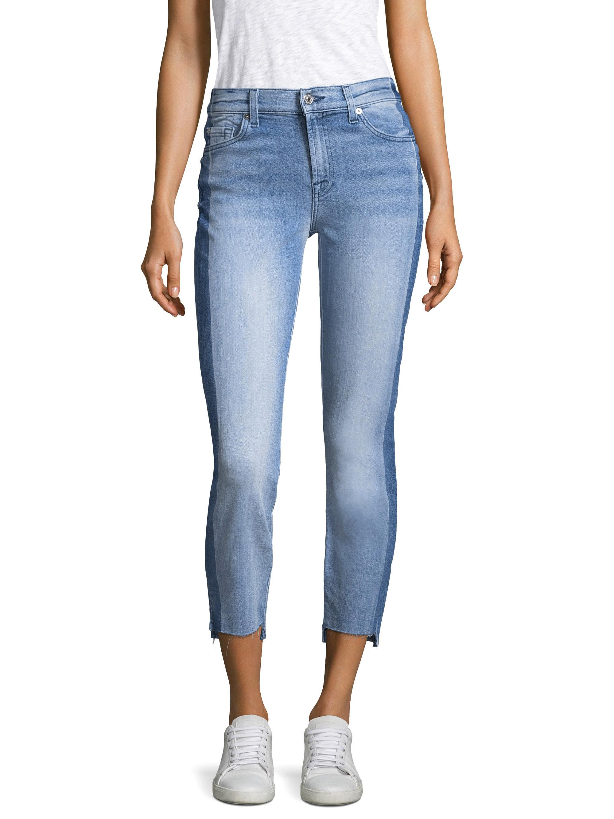 7 for all mankind roxanne cropped jeans in blue lyst. Black Bedroom Furniture Sets. Home Design Ideas
