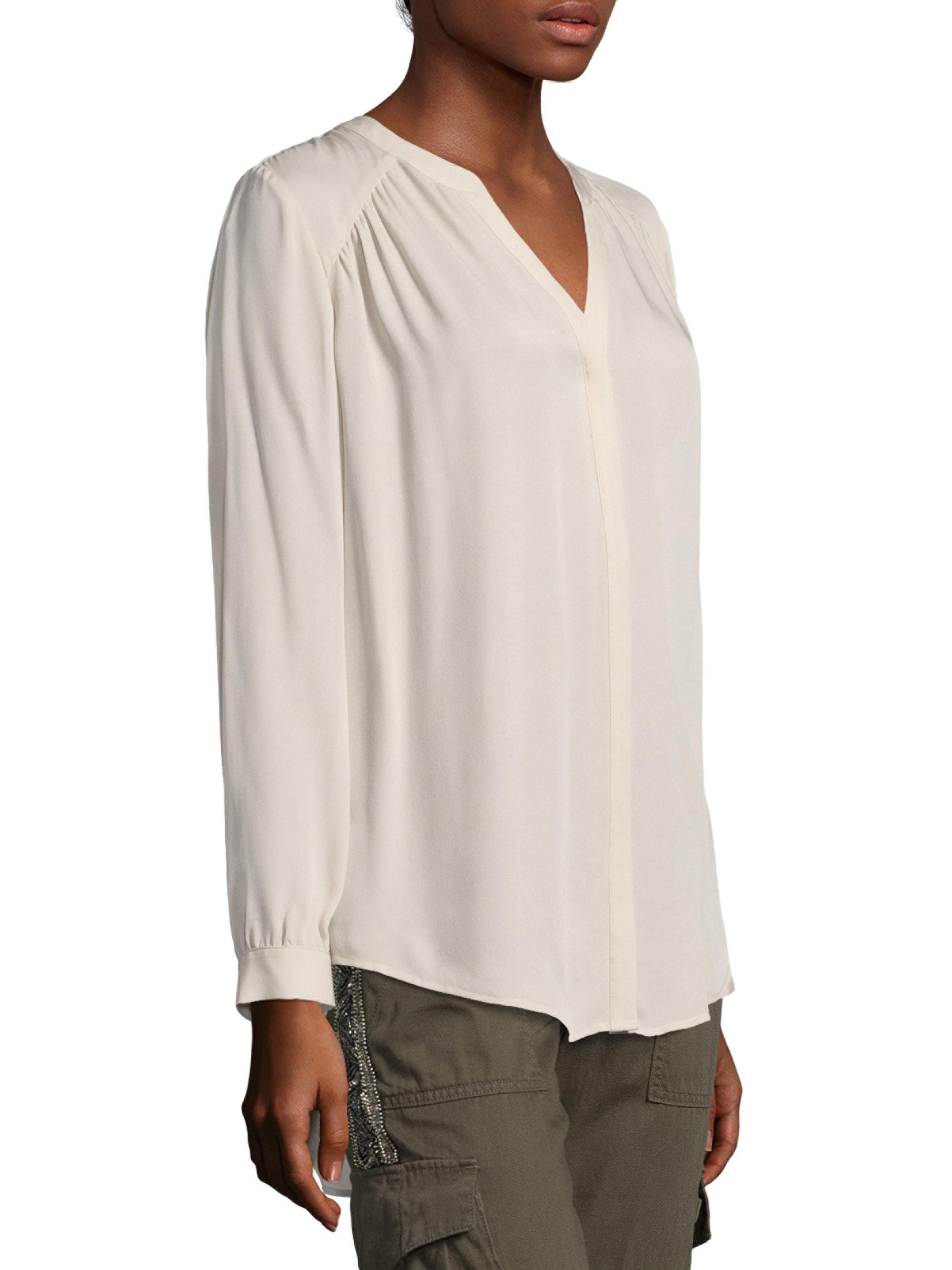 a394c634e8190b Lyst - Joie Yaritza Long Sleeve Silk Blouse in White