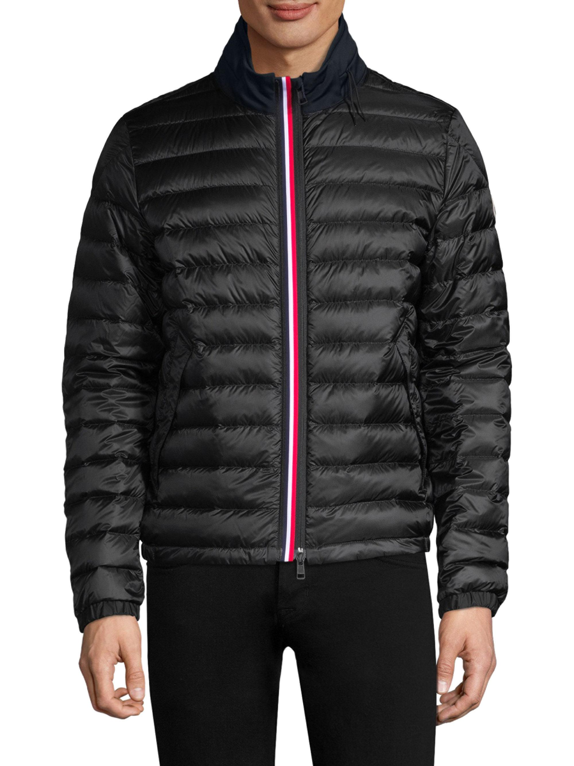Moncler. Men's Black Arroux Hidden Hood Quilted Jacket