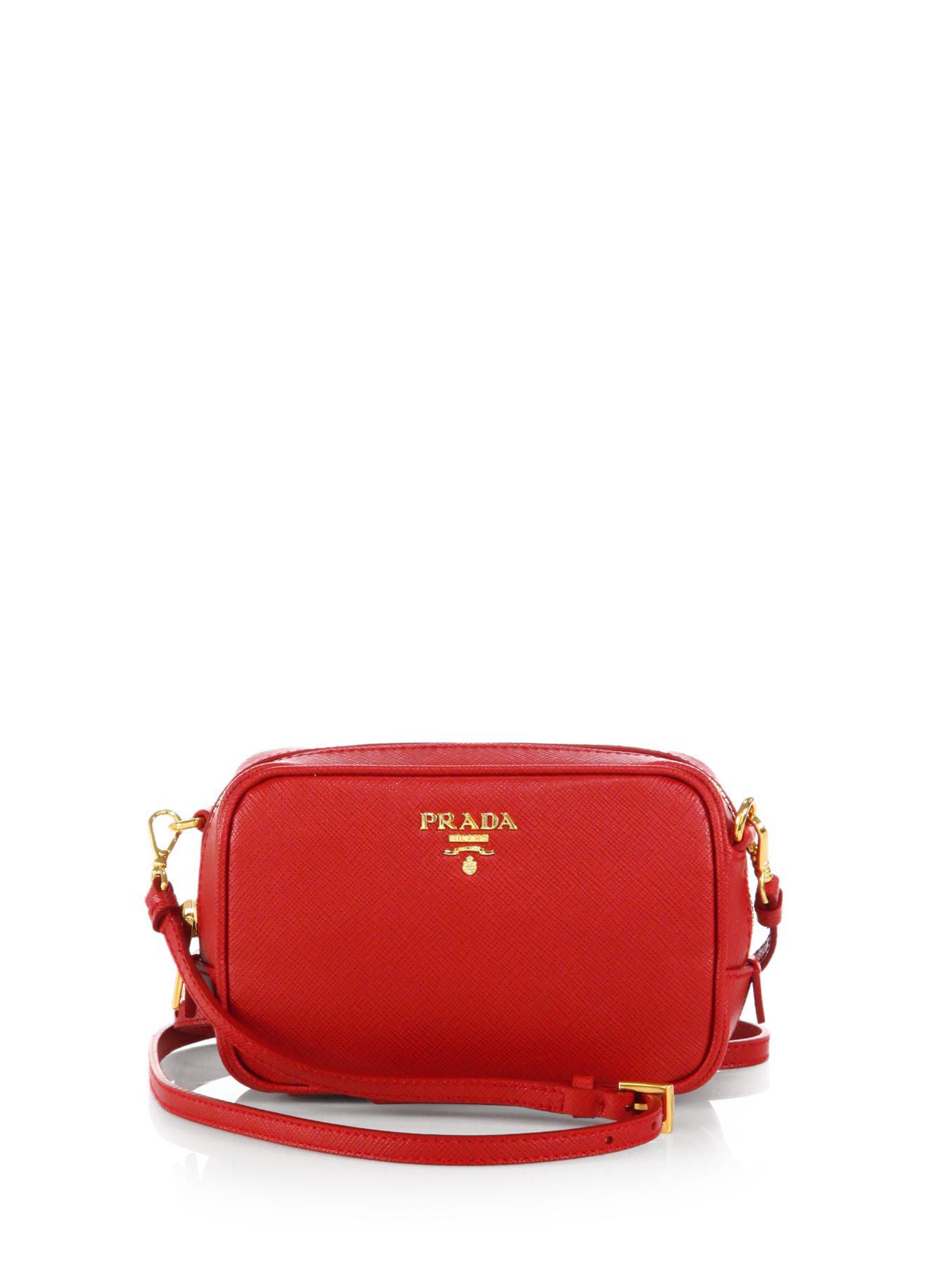 00163346a256dc Prada Saffiano Leather Camera Bag in Red - Lyst