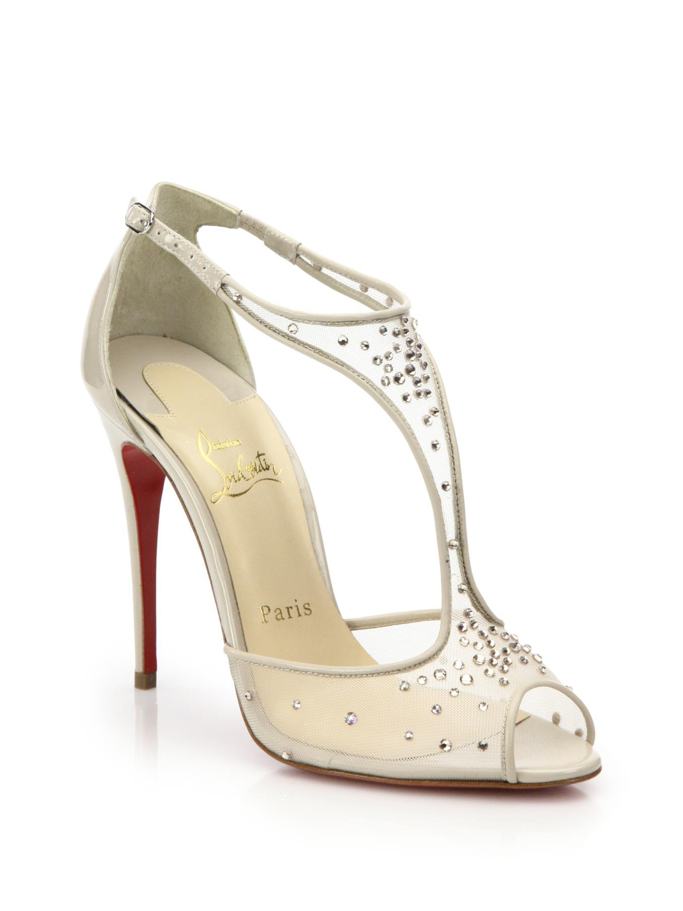 23e3178cc2ae ... discount code for lyst christian louboutin patinana crystal mesh t  strap sandals in 79609 f58da