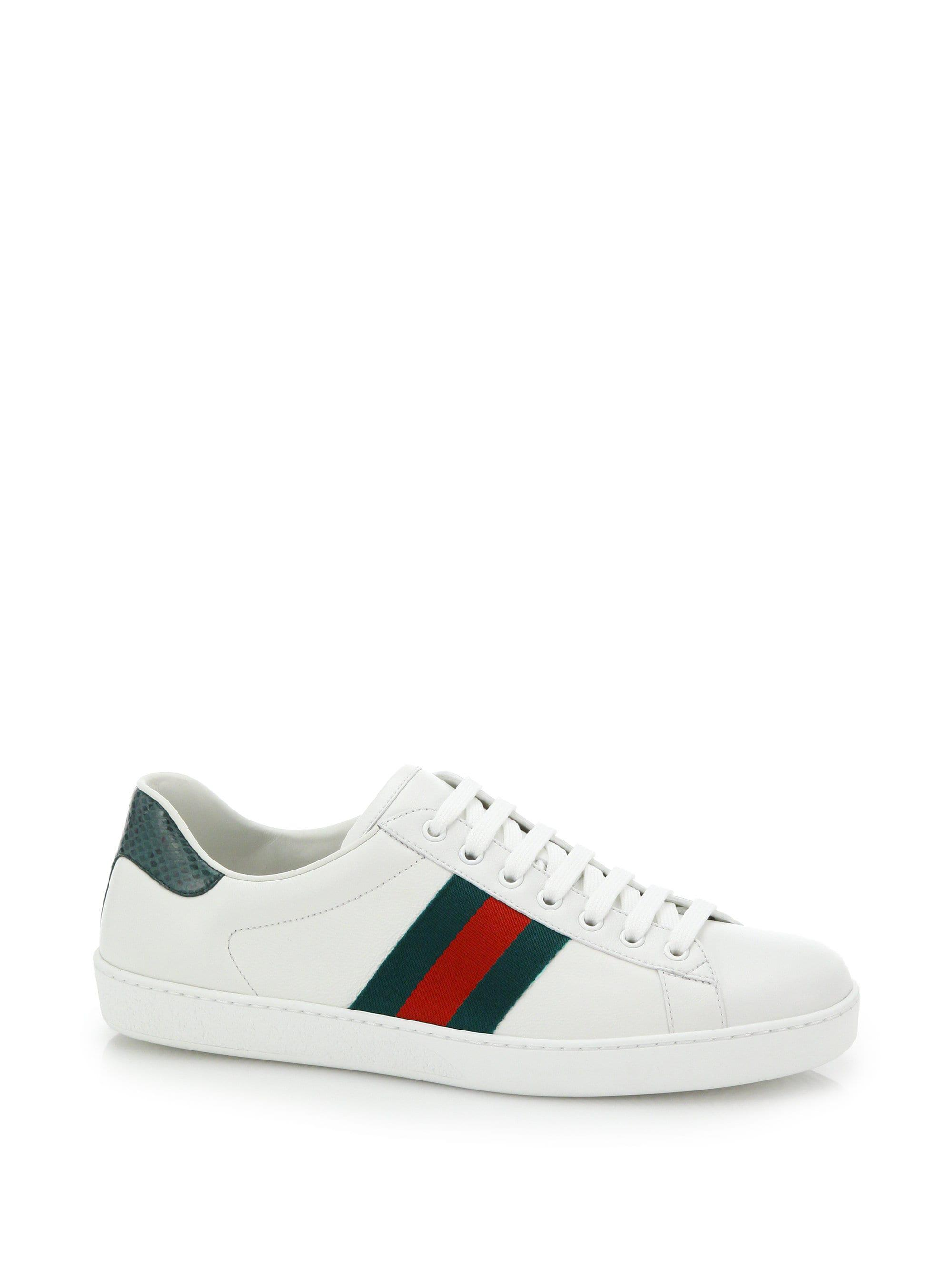 79f3afd52c8 Gucci - White Croc-detail Ace Leather Sneakers for Men - Lyst. View  fullscreen