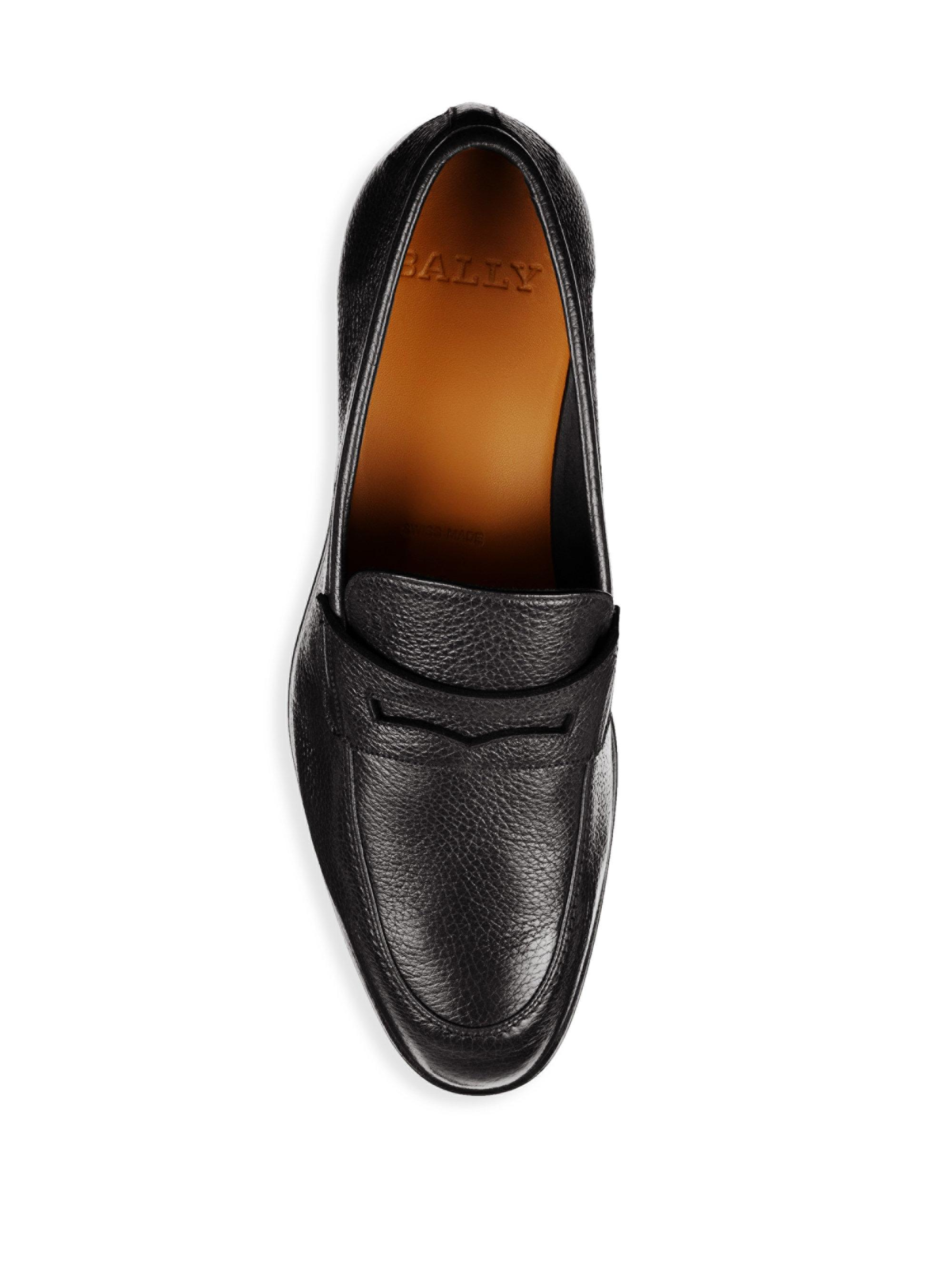 bf11cd9ff9f Bally Men s Webb Grained Leather Penny Loafers - Black - Size 6.5 D in  Black for Men - Lyst