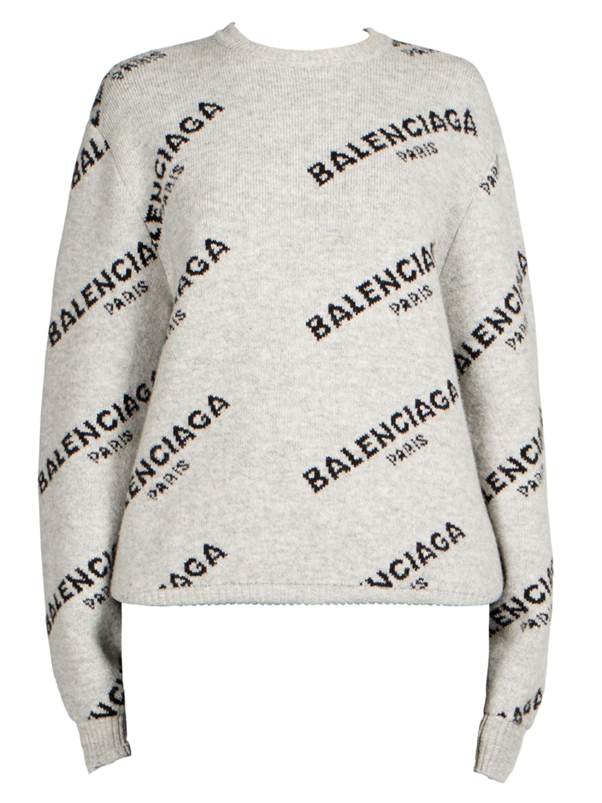 Lyst - Balenciaga Jacquard Logo Crewneck in Gray - Save 18% 950ee77cf