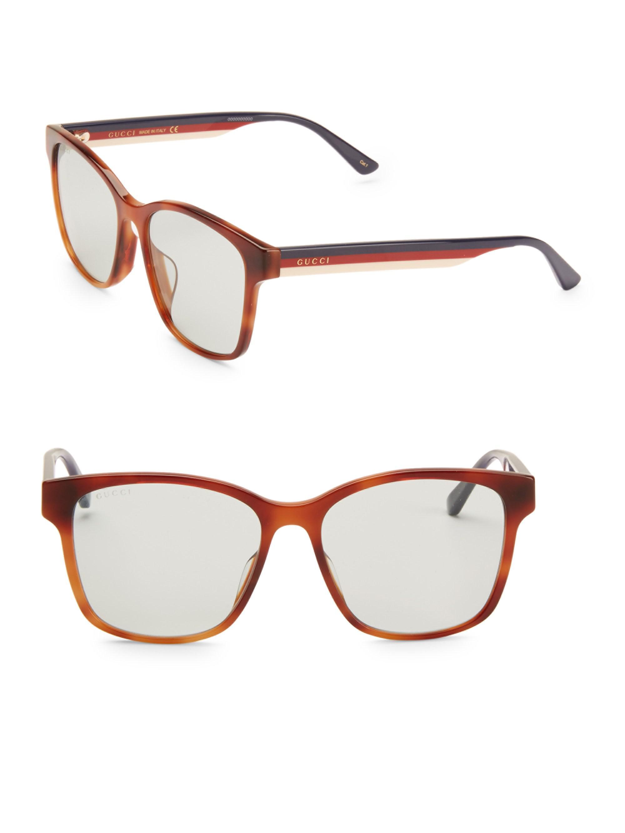 624c7475ea Gucci - Brown 56mm Unisex Acetate Sunglasses for Men - Lyst. View fullscreen