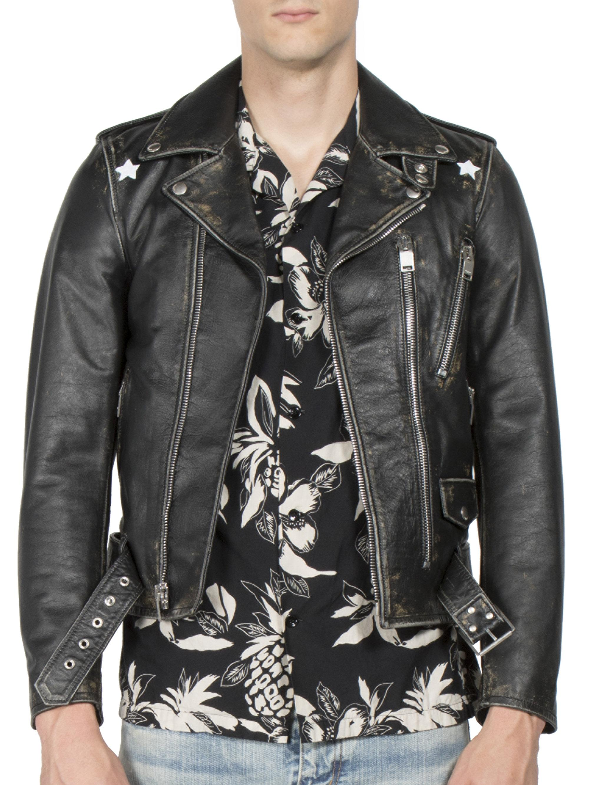e1ebd562c70 Saint Laurent Distressed Skin Leather Jacket in Black for Men - Lyst