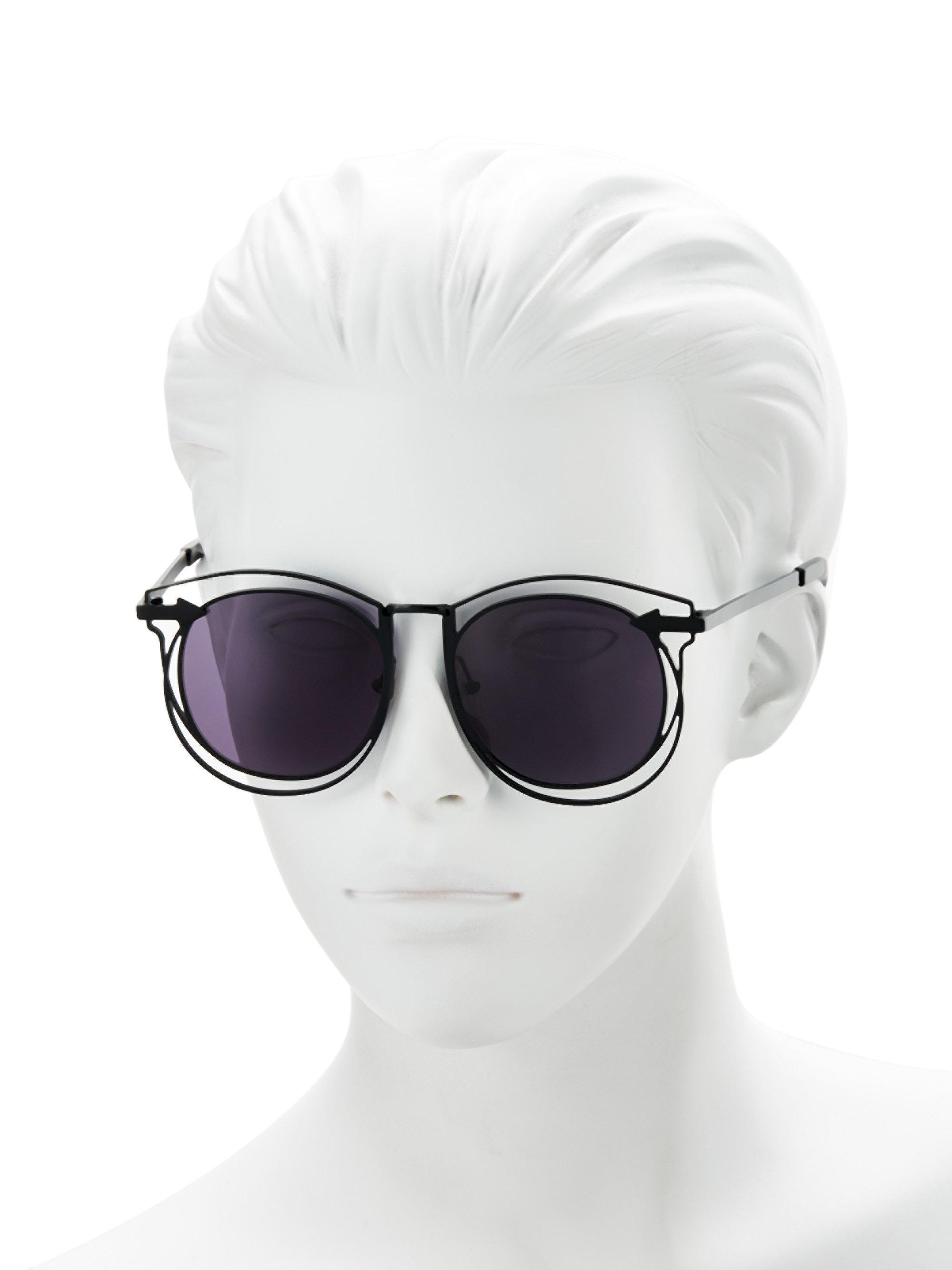 ecbbe5e9ea117 Karen Walker Superstars Simone 54mm Round Wire Sunglasses in Black ...