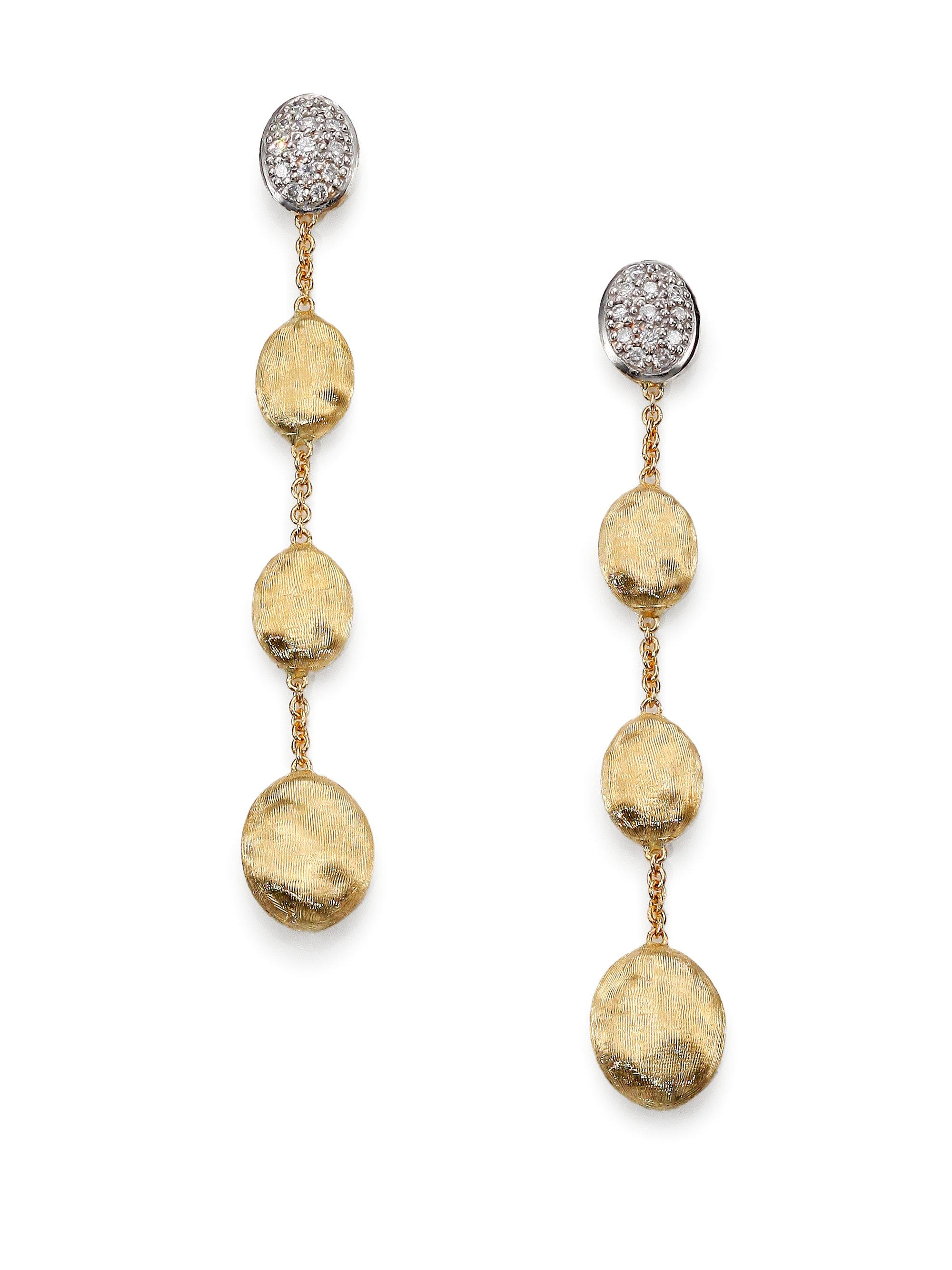earrings shop sapphire marco bicego multi pierced yellow siviglia gold colored