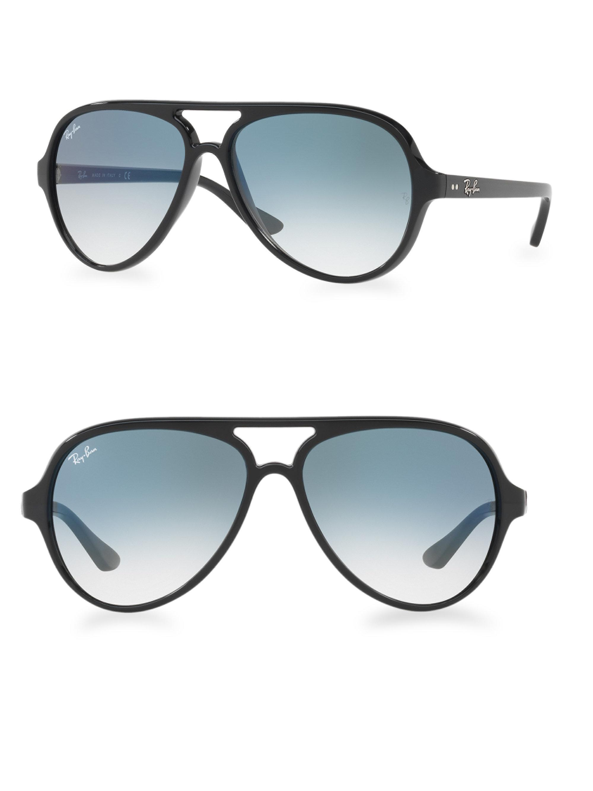 32b830dc3d6 Ray-Ban Iconic Cats 5000 Aviator Sunglasses in Black - Lyst