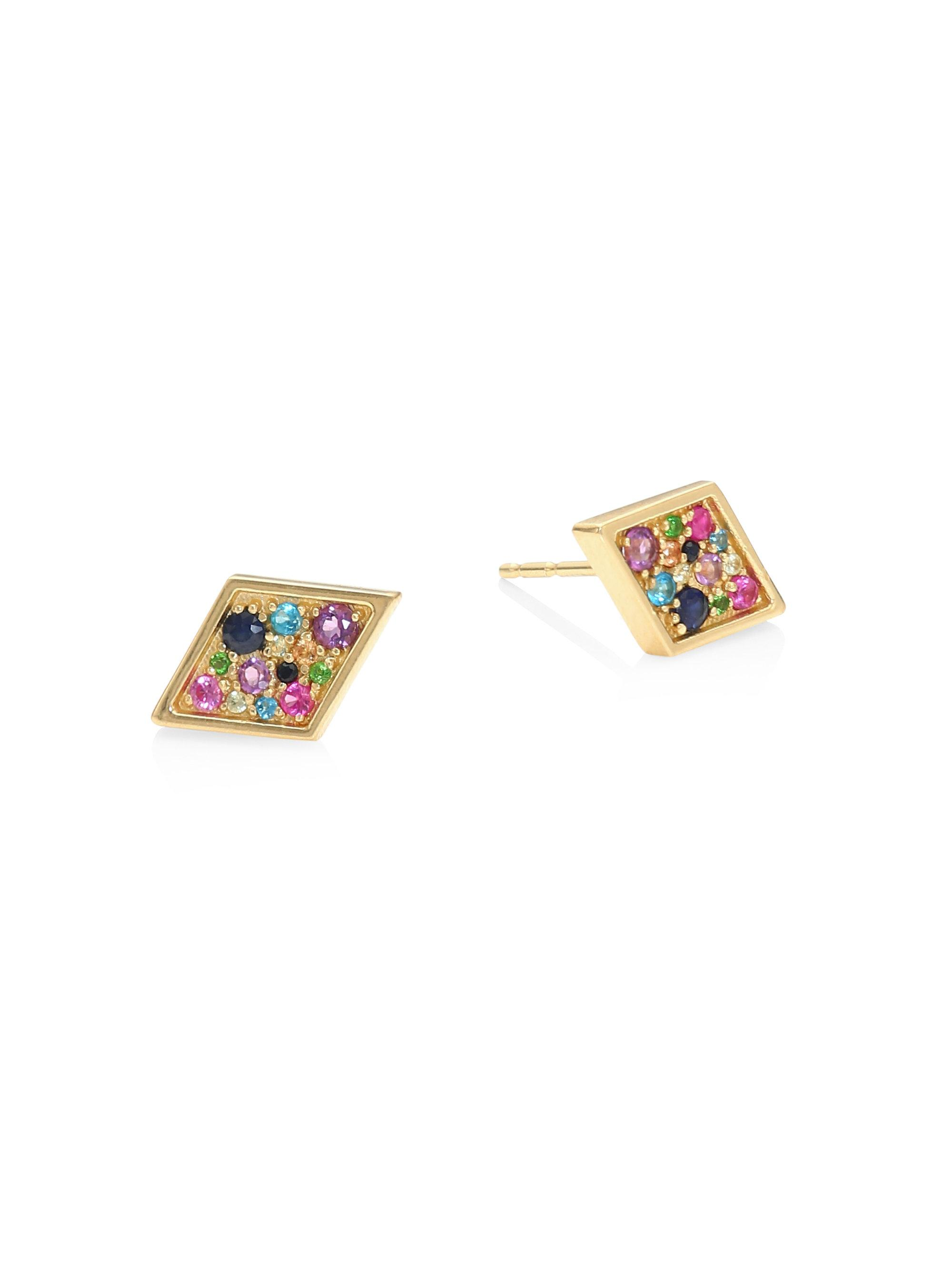 set products viranijewelers floral gold yellow earrings in stud img frame sapphire blue