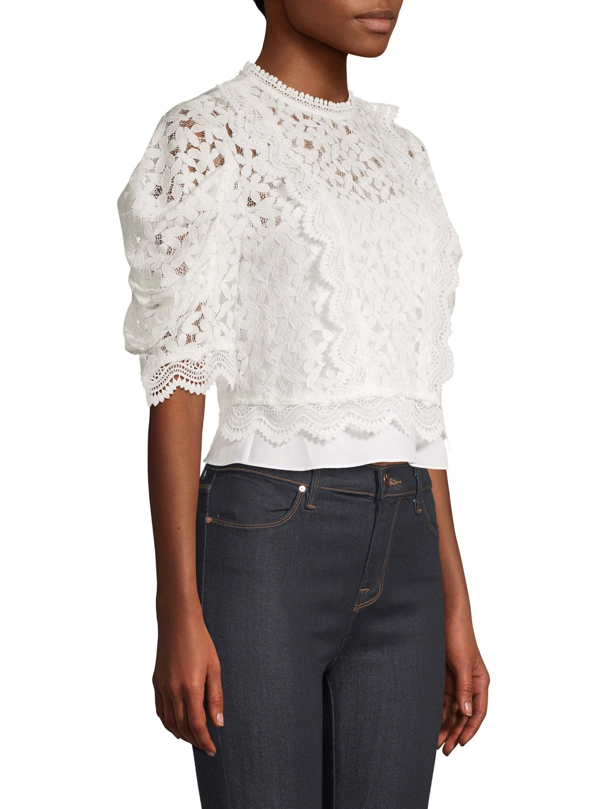 673622ae4c783e ... Felicity Floral Lace Puff-sleeve Top - Lyst. View fullscreen