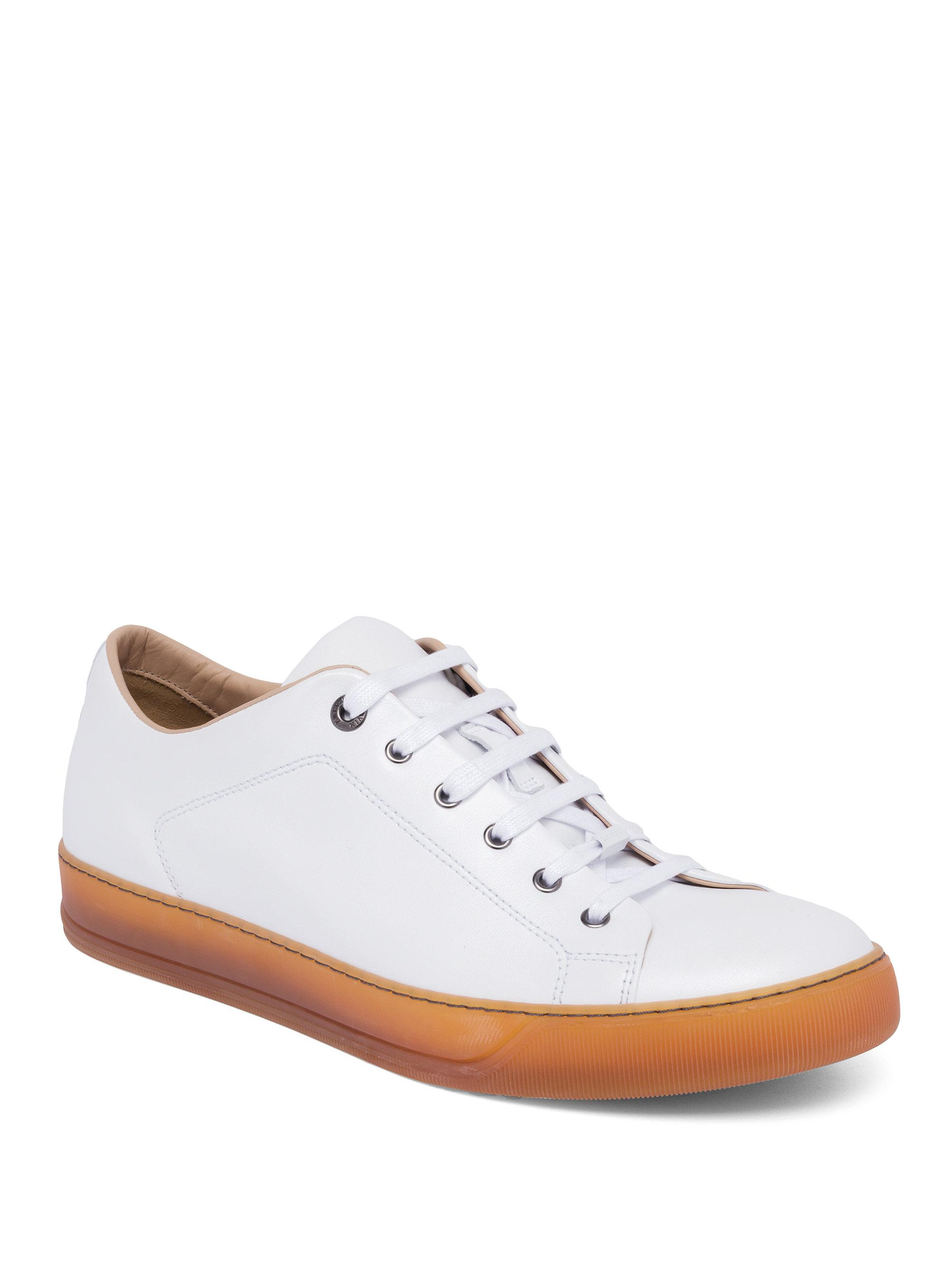 For Lanvin Men Leather Sneakers Lyst White Low Top In Z0Pnqd6x