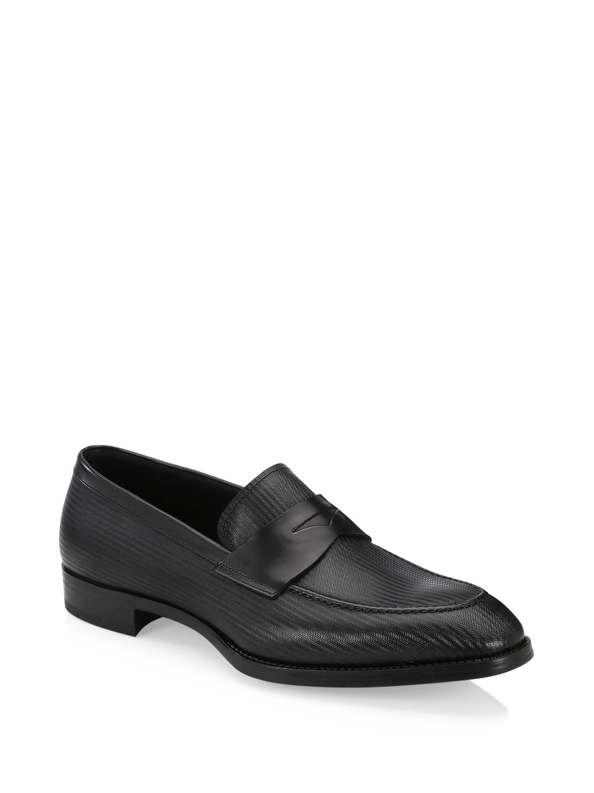 ArmaniIllusion Stripe Leather Loafers pydZW
