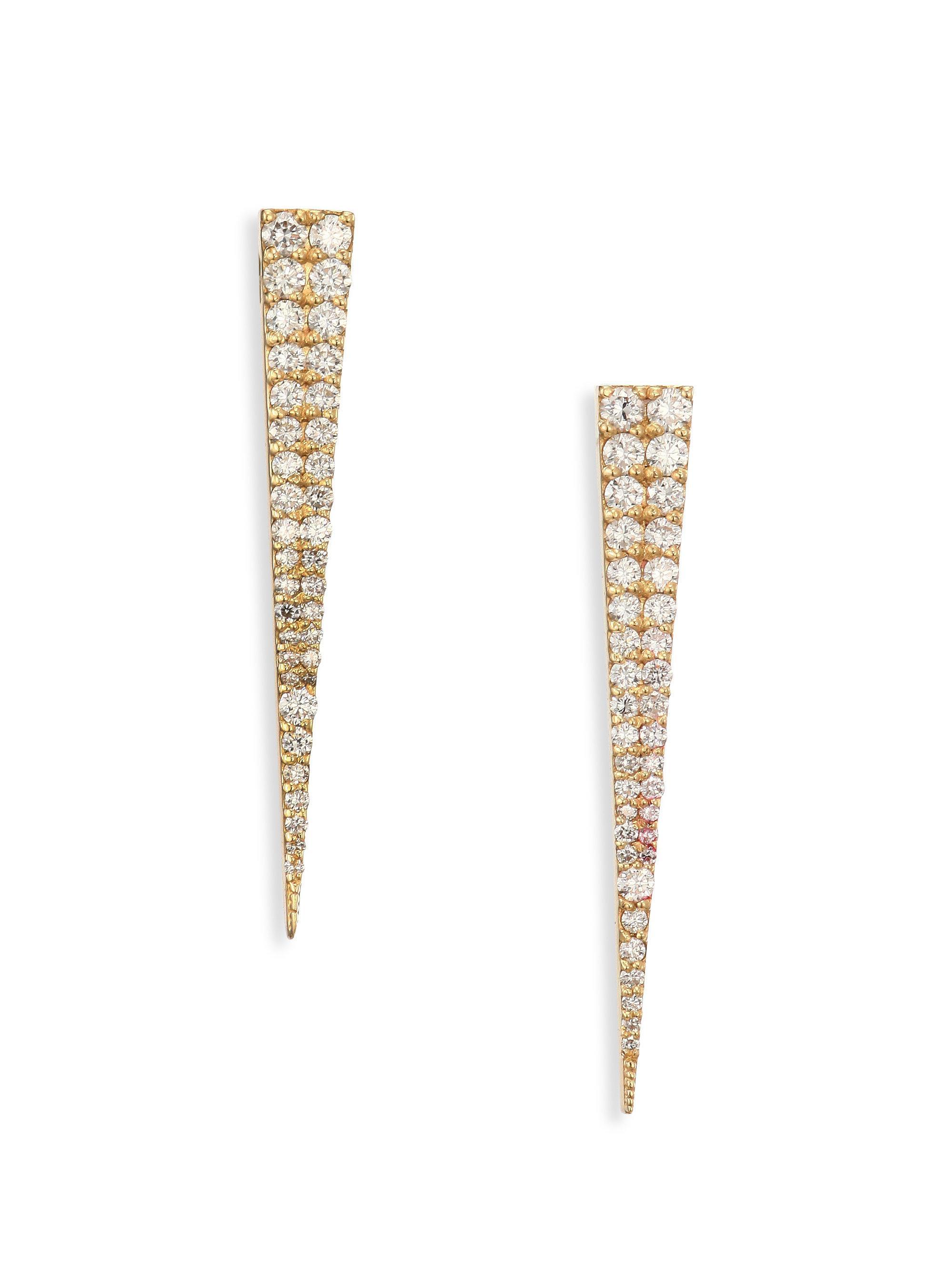 Lana Jewelry 14K Gold Long Expose Bar Earrings with Diamonds S3t8U0kG7