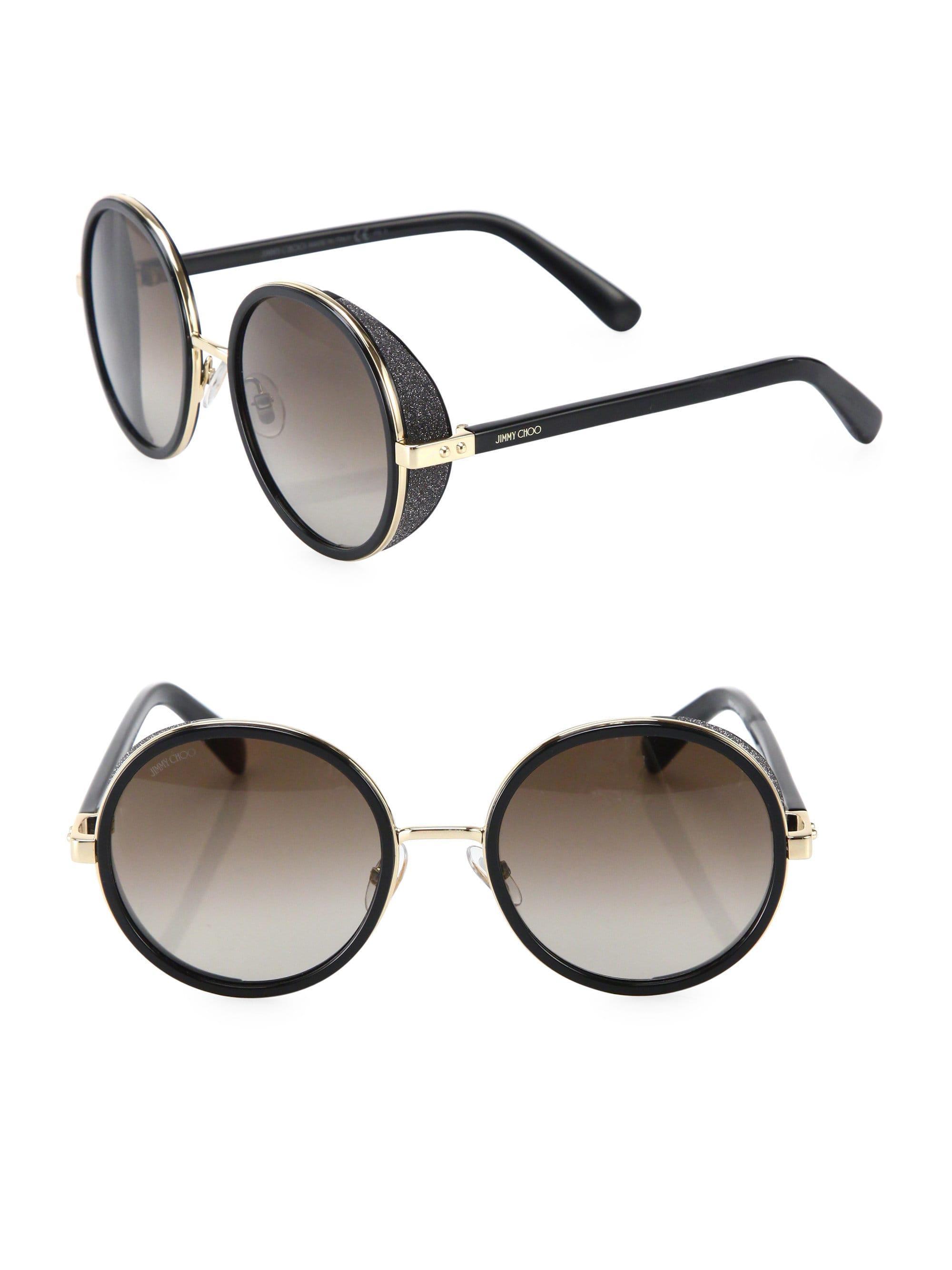 da11cbecb0b Lyst - Jimmy Choo Women s 54mm Andie Glitter-trim Round Sunglasses ...