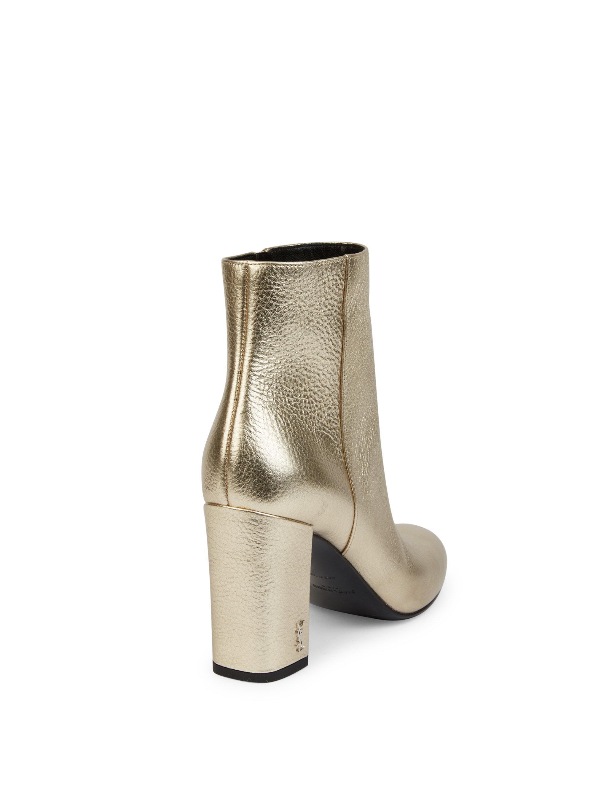15e63fd031af Lyst - Saint Laurent Babies Metallic Leather Block Heel Booties in ...