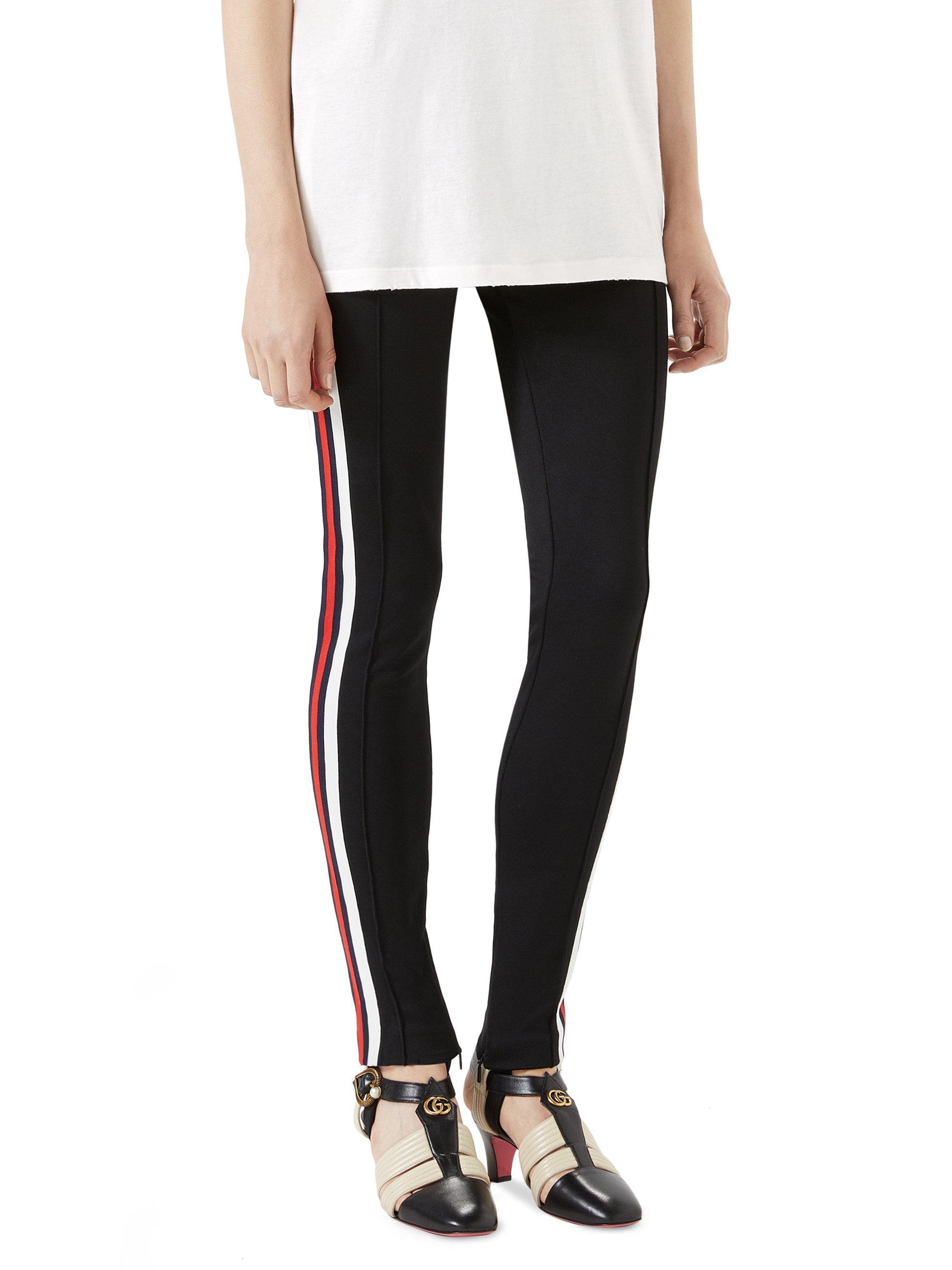 ca6aaca270e9 Gucci Tech Jersey Stripe Stirrup Pants in Black - Lyst