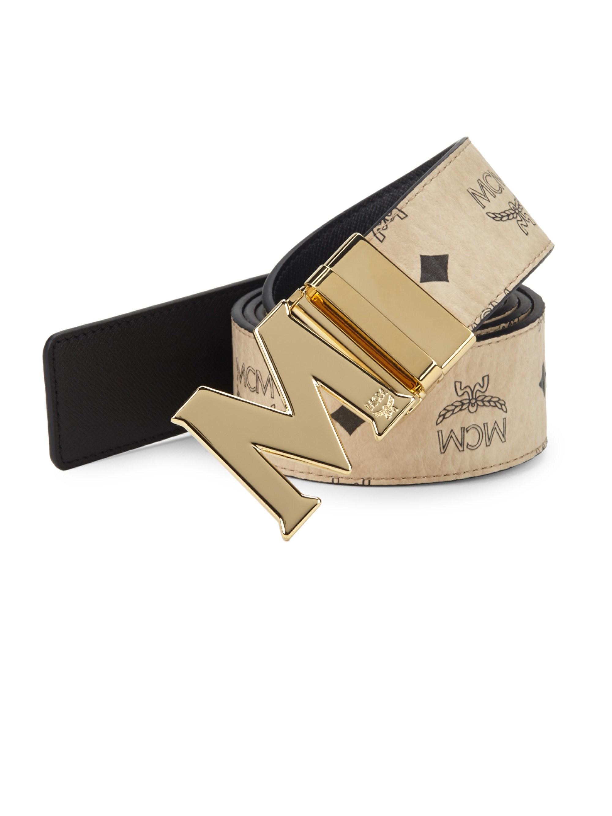 Lyst - MCM Men s Logo-print Leather Belt - Beige in Natural for Men 9e5ec592a92f