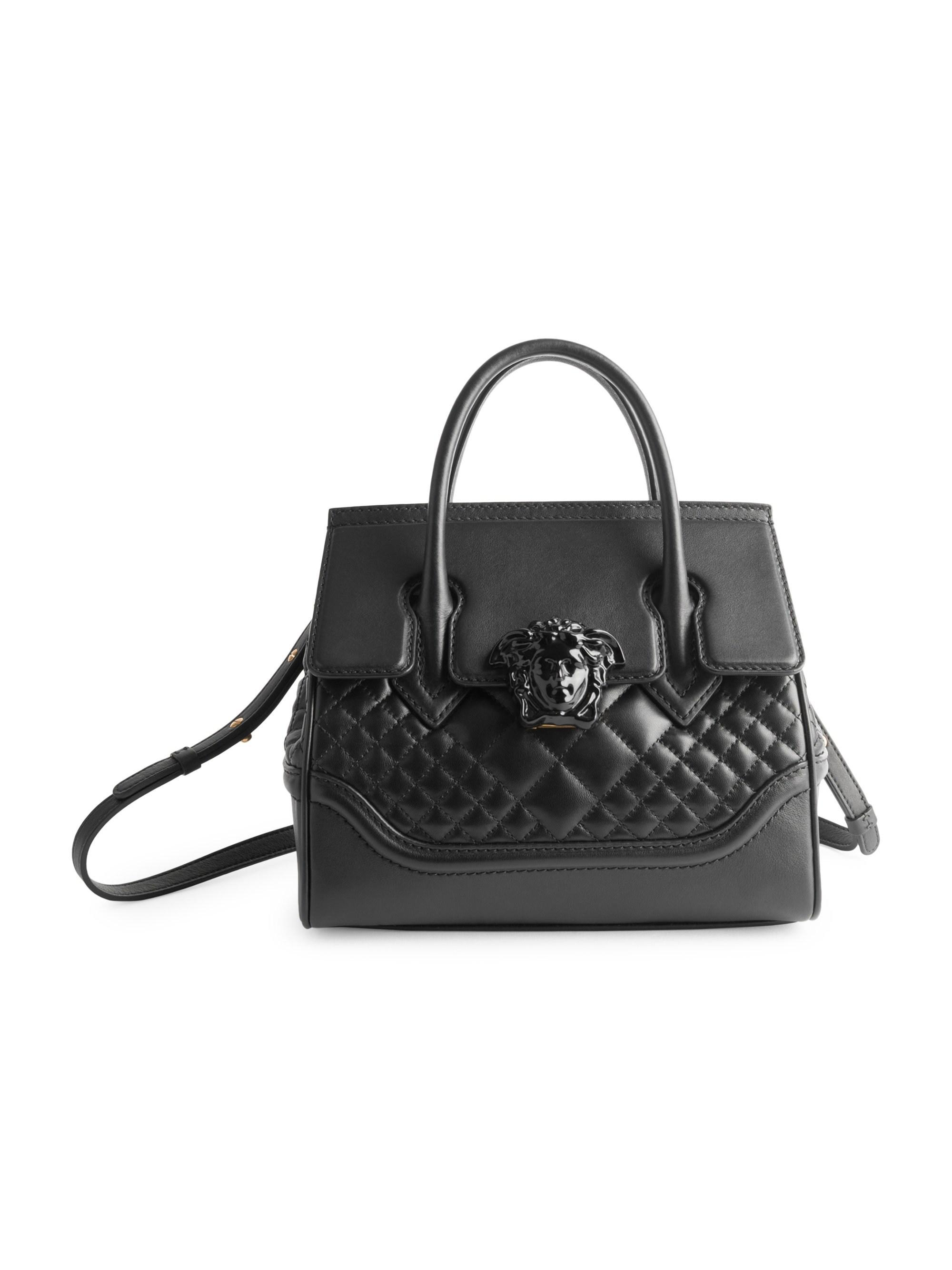 68879f6cbf Versace Quilted Palazzo Empire Top Handle Bag in Black - Lyst