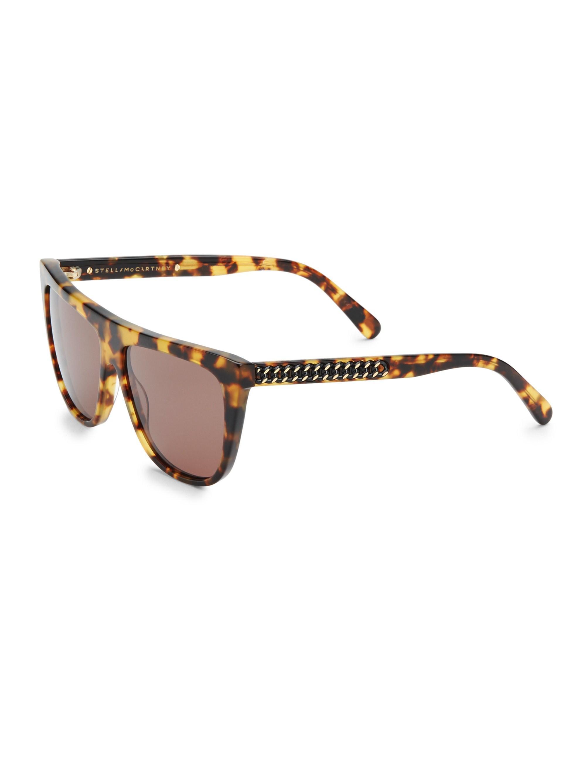57011a0d26 Stella McCartney - Multicolor 56mm Tortoiseshell Shield Sunglasses - Lyst.  View fullscreen