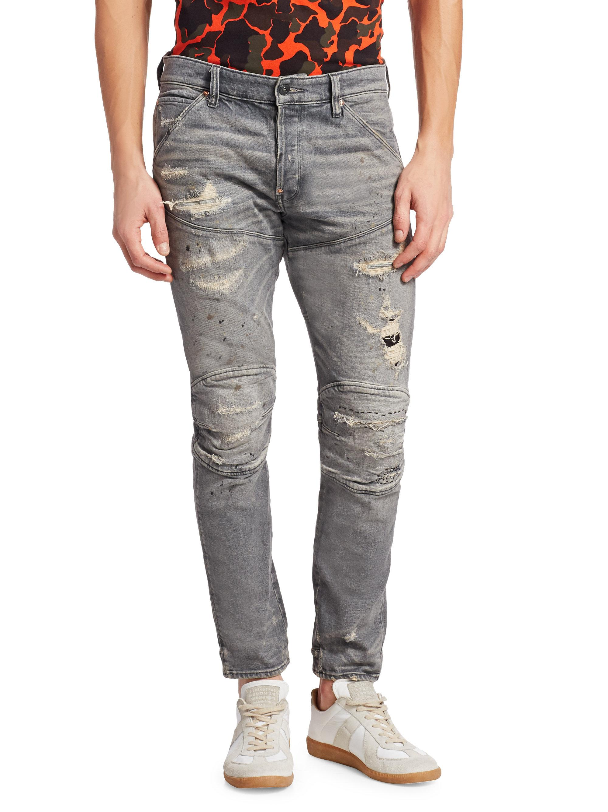 G-Star RAW. Men\u0027s Gray 5620 3d Ripped Tapered Slim-fit Jeans