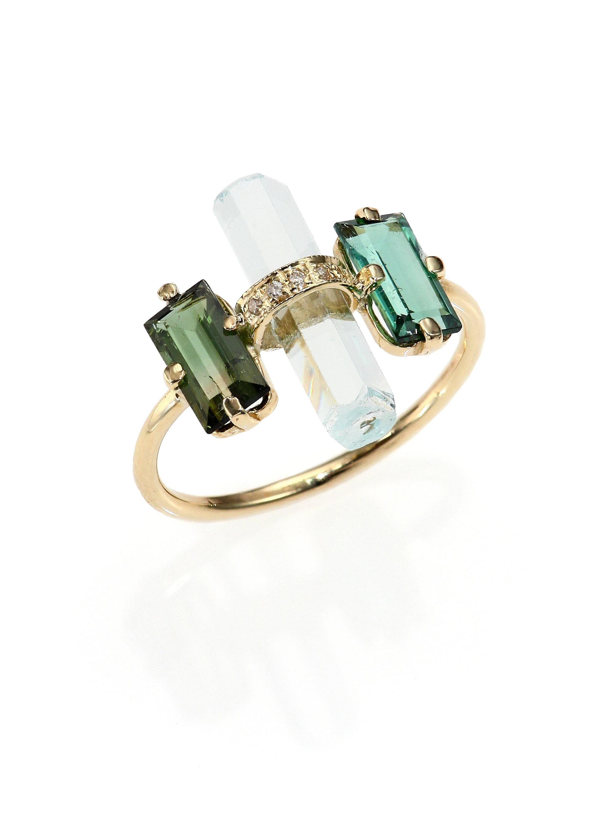 gold maine with tw white rings in ring diamonds green tourmaline
