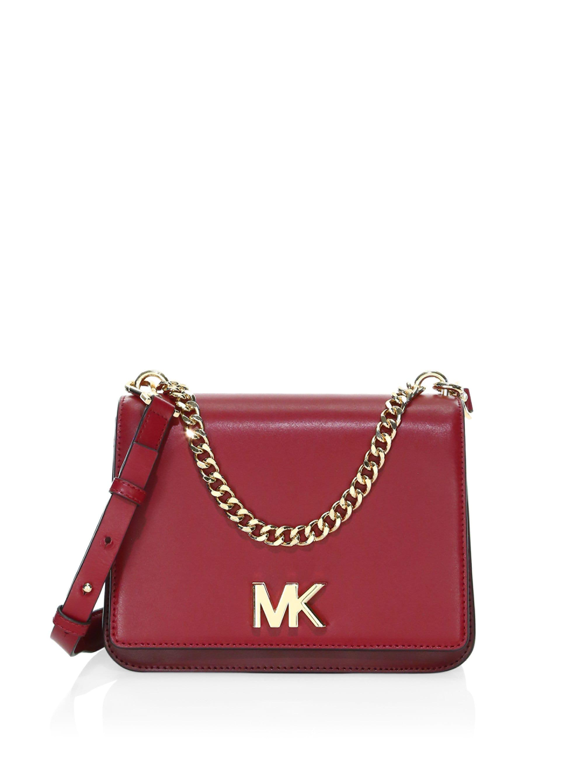 97ac09fa019476 Michael Michael Kors Large Swag Chain Leather Shoulder Bag in Red - Lyst