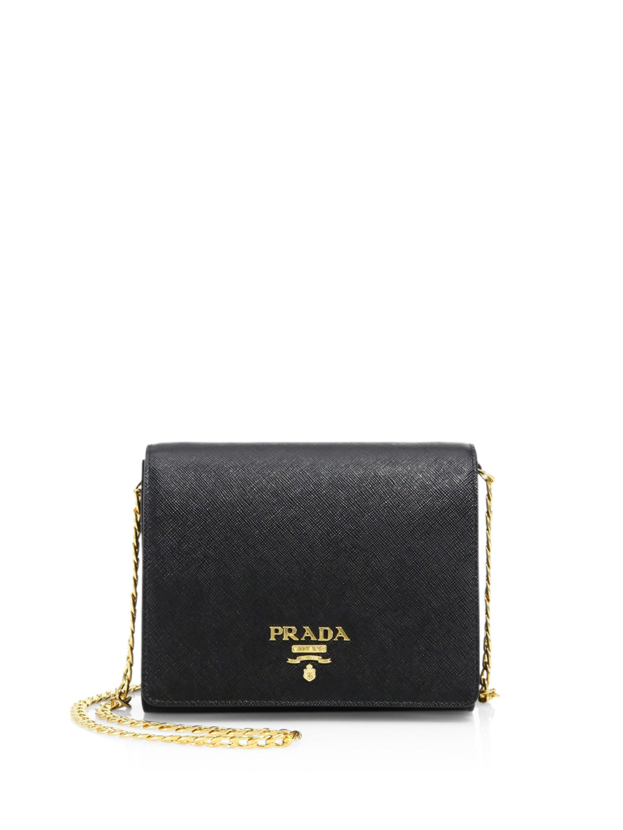 cbc18e52bf8f Prada Saffiano Lux Chain Wallet in Black - Lyst
