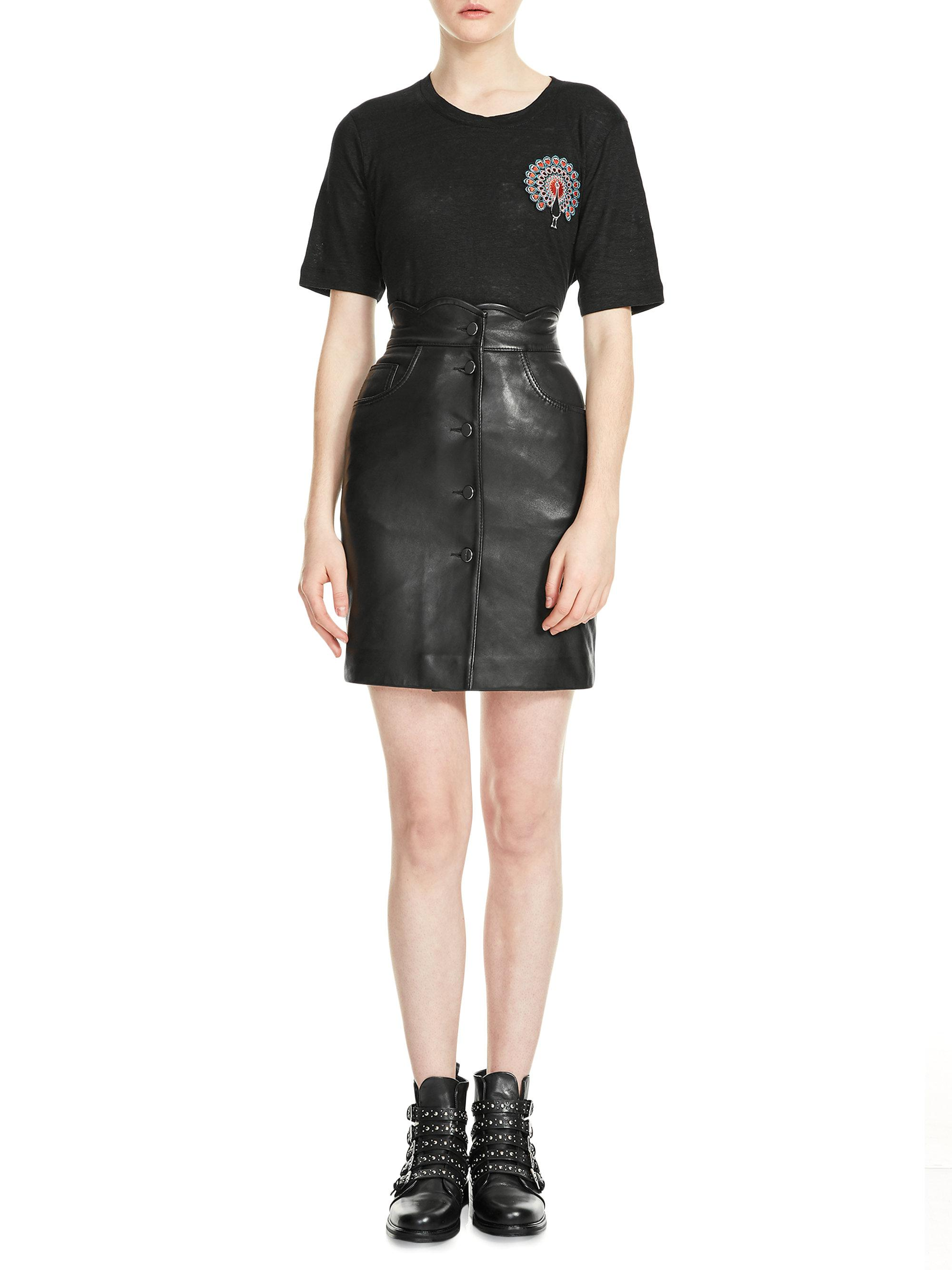 6fc540333 Maje Journey Leather Skirt in Black - Lyst