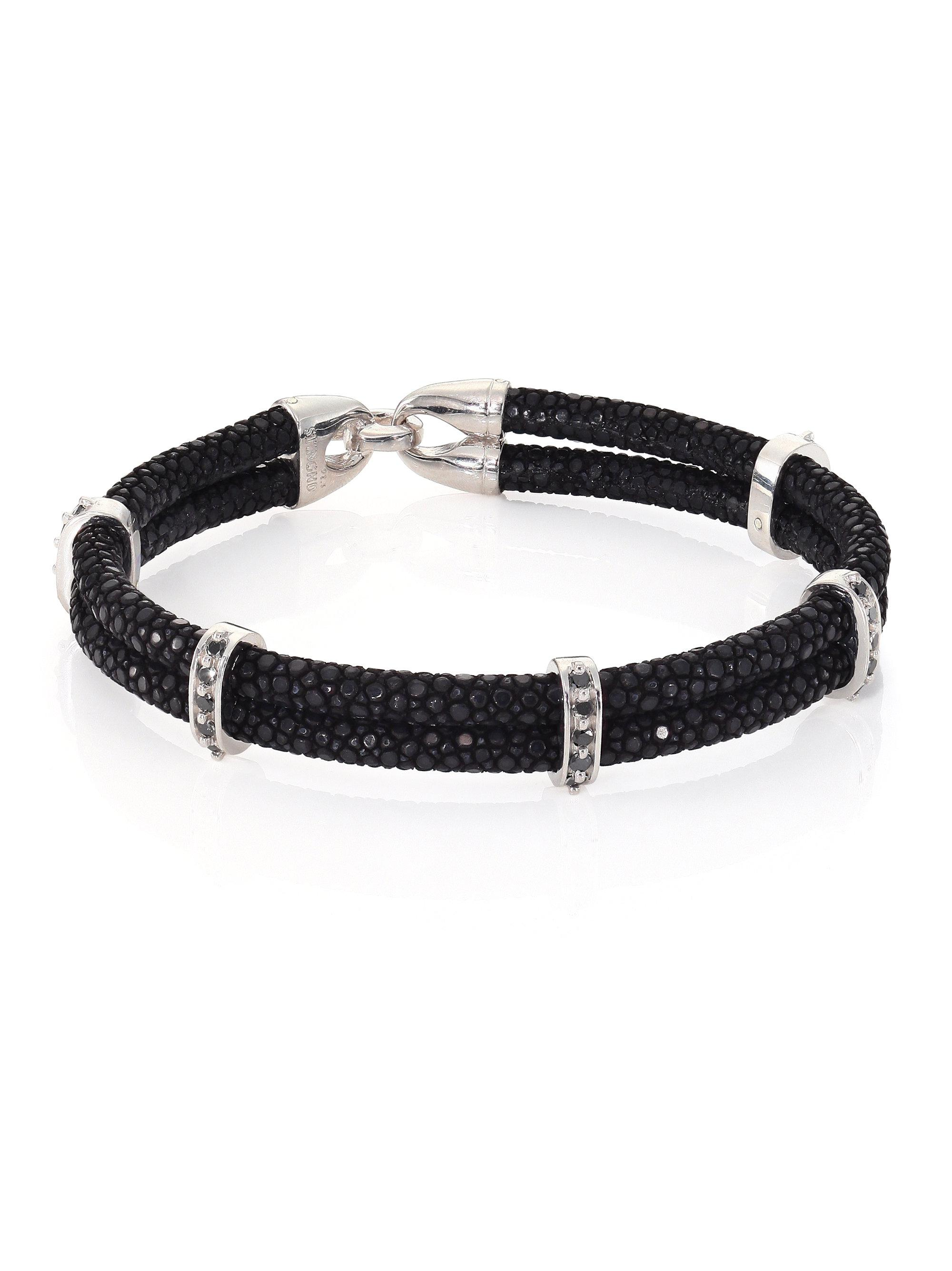 b with diamond bead centre black glass bracelet nikki by