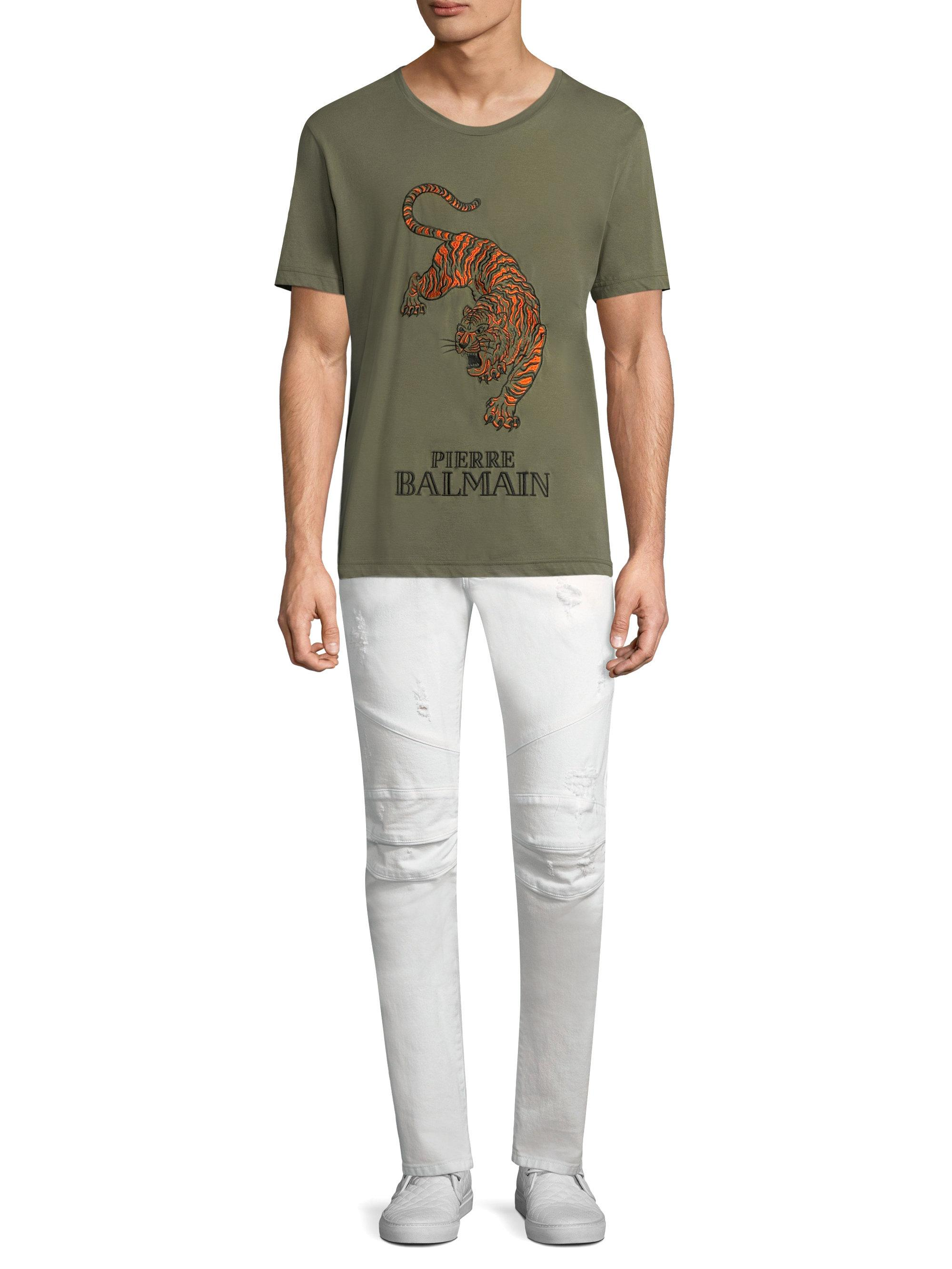 70d78f2b Lyst - Balmain Embroidered Tiger Cotton Tee in Green for Men