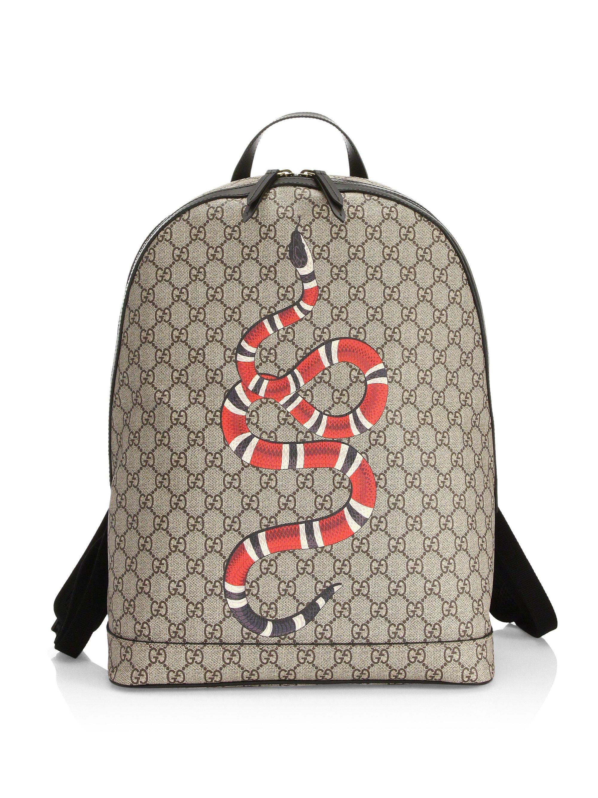 Lyst - Gucci Kingsnake Print Gg Supreme Canvas Backpack in Brown for Men 9baf725723