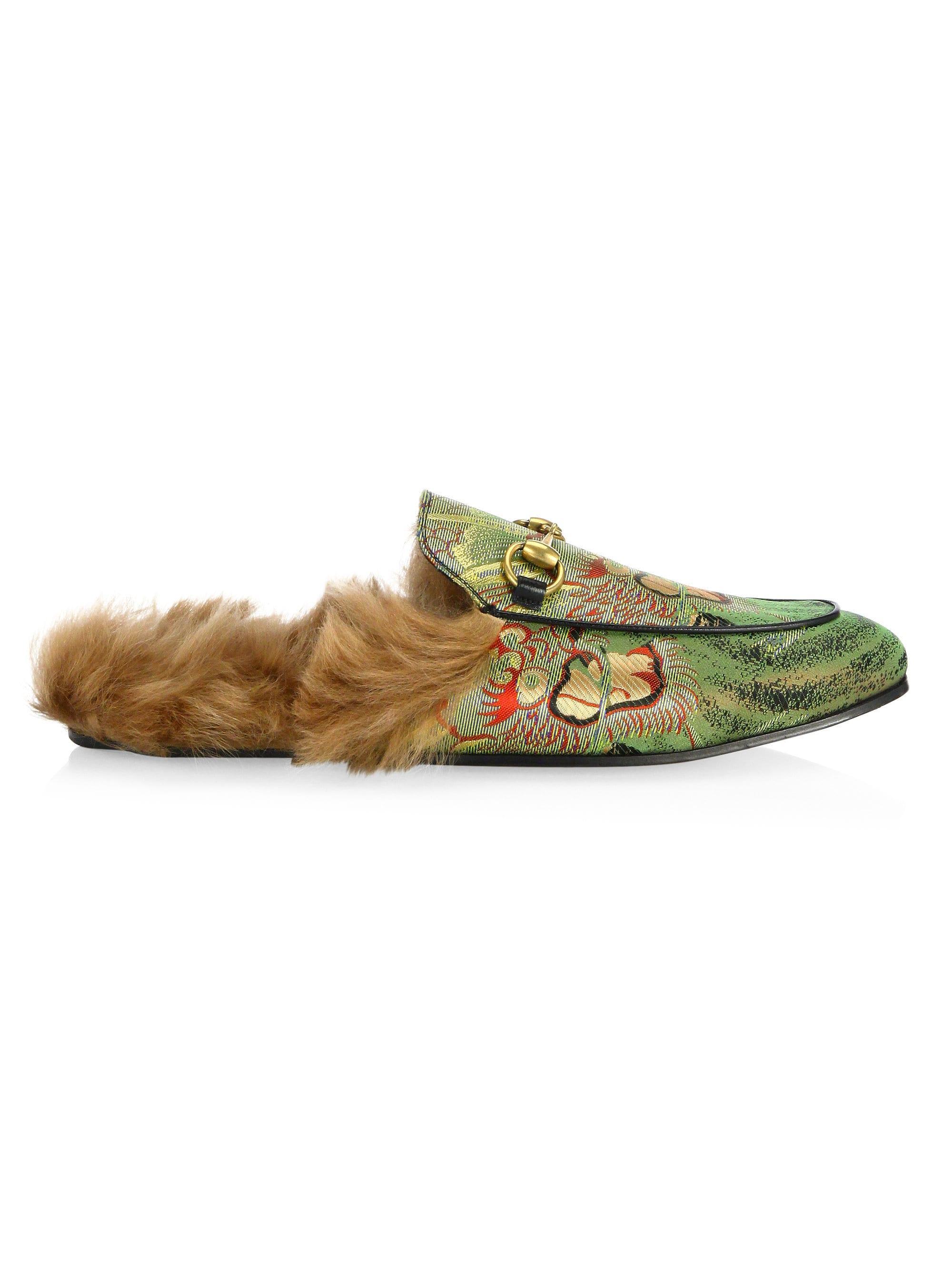 fe02e692454 Lyst - Gucci Men s Princetown Dragon Jacquard   Fur Slippers - Green ...