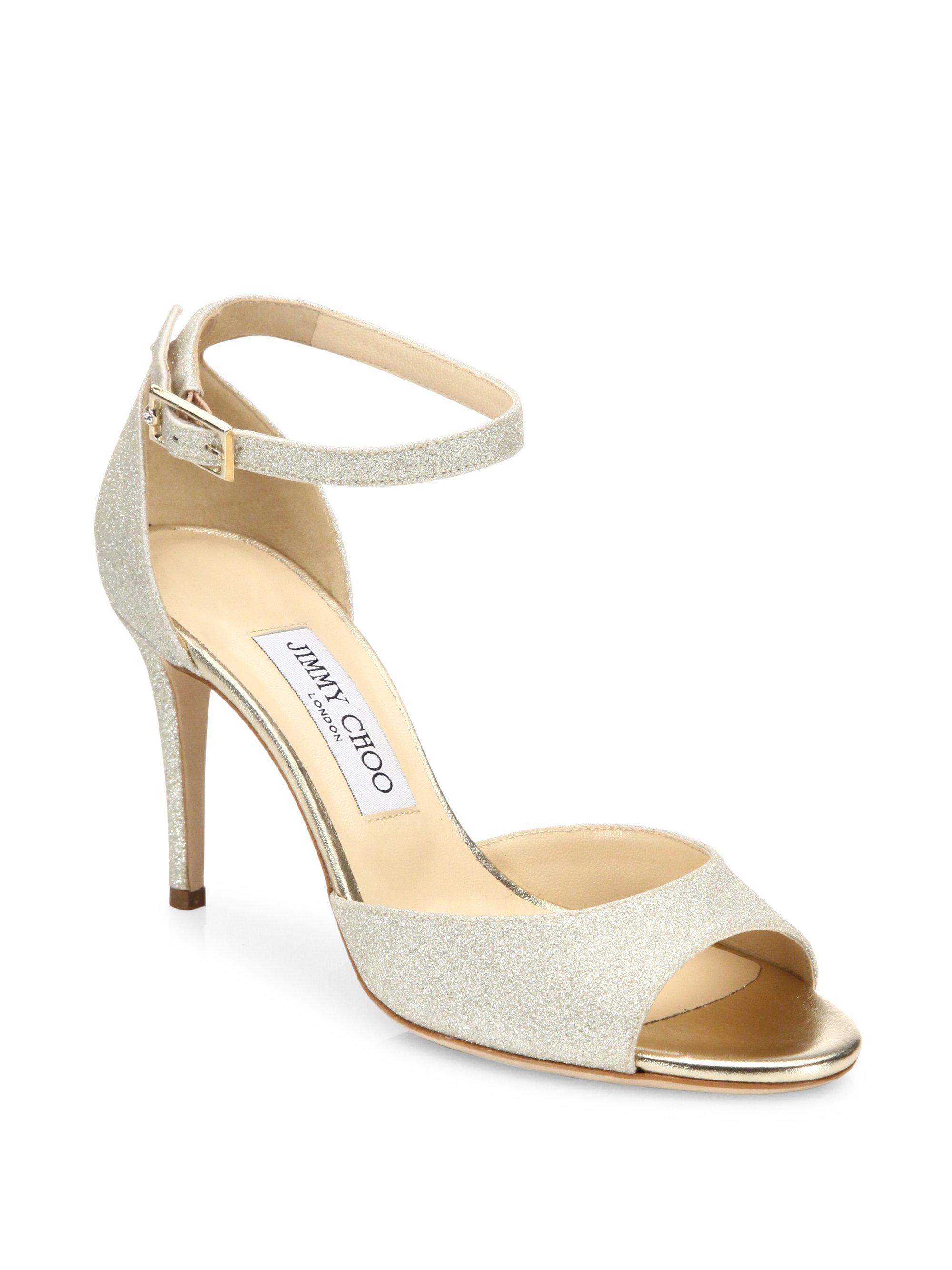 Jimmy choo Women's Annie 85 Glittered Suede High-Heel Ankle Strap Sandals jDK8SmvF