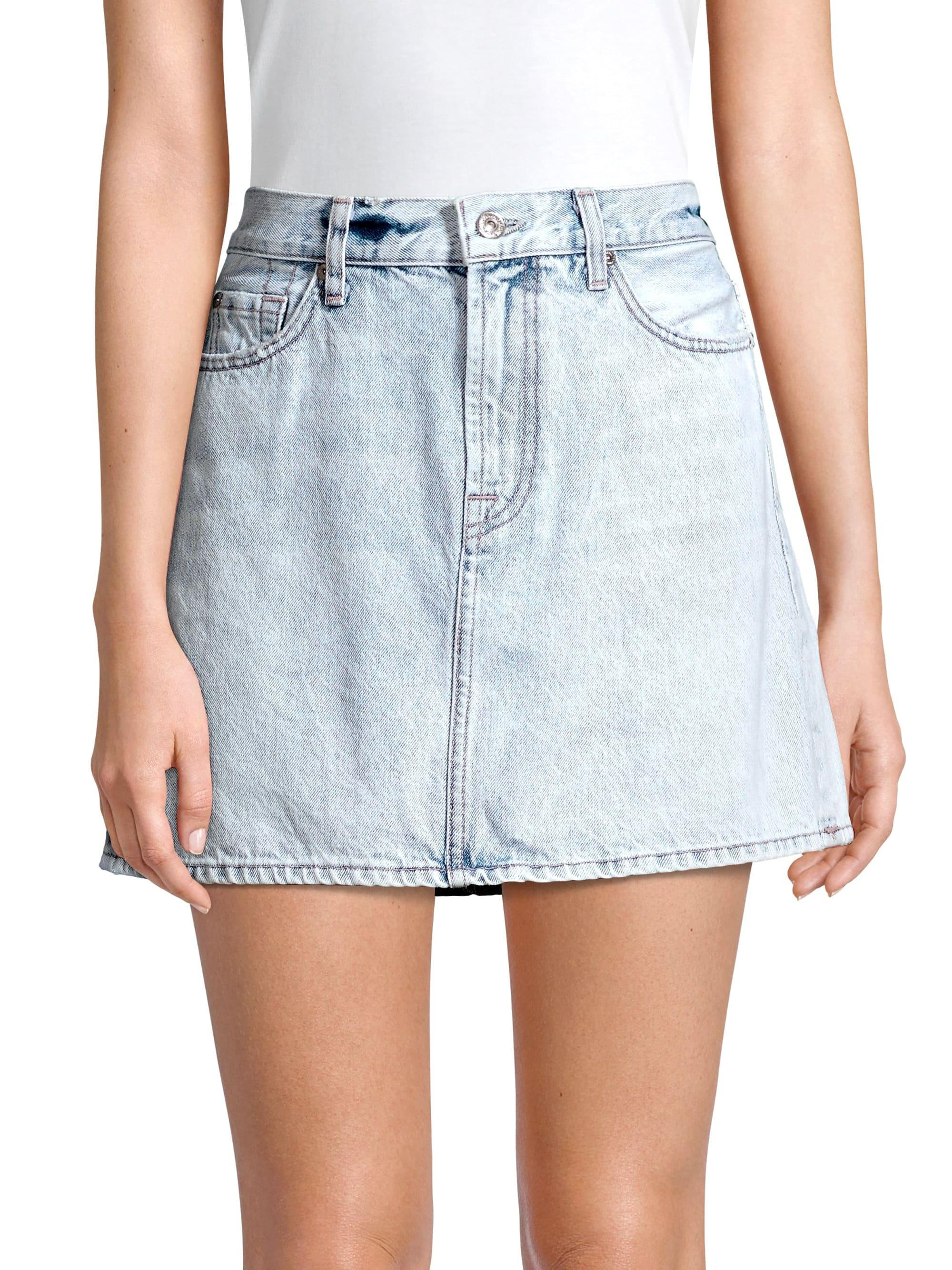 91ecc95cda2c5 Lyst - 7 For All Mankind Acid Wash Denim Mini Skirt in Blue