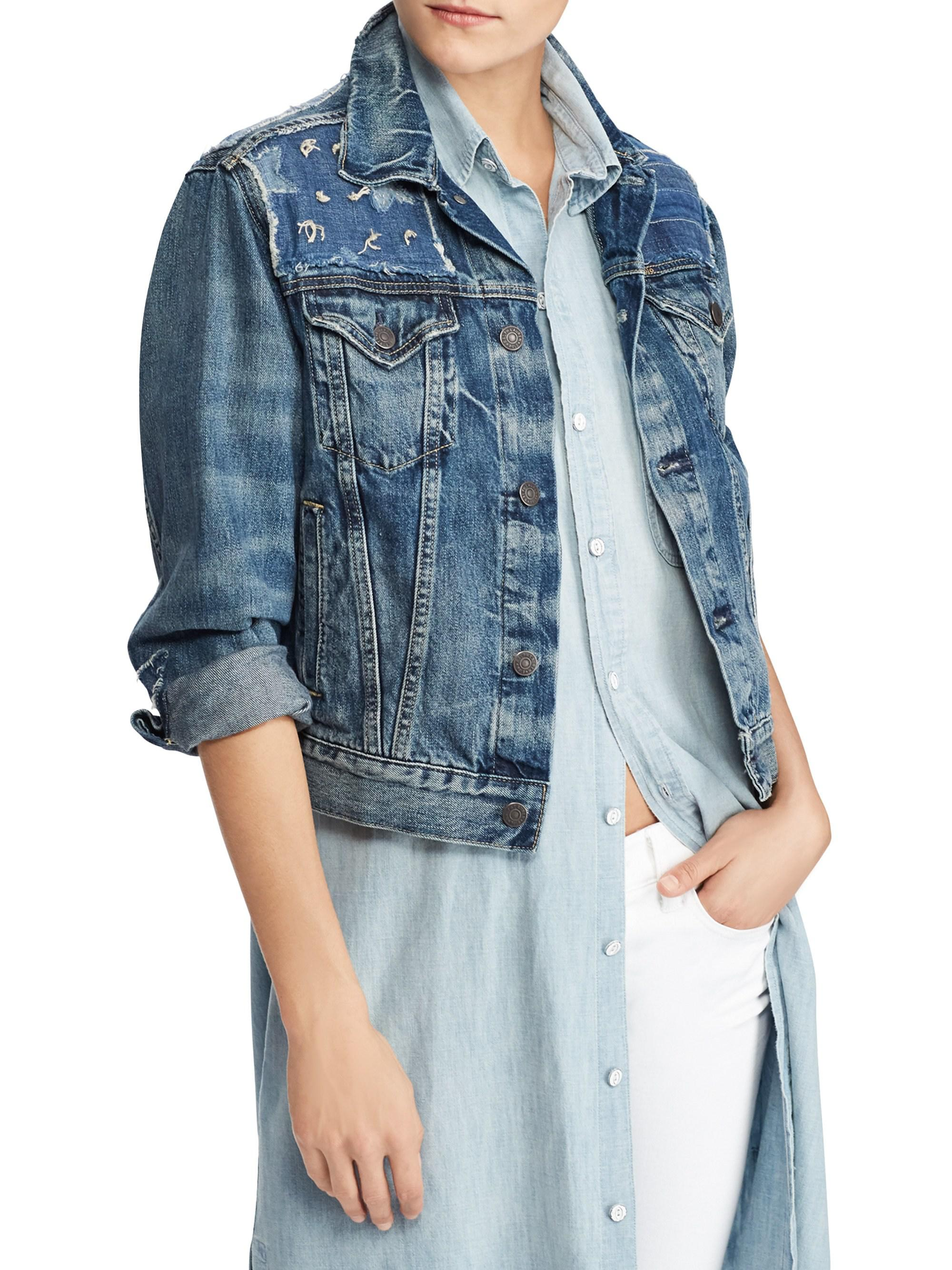 Polo Ralph Lauren. Women\u0027s Blue Trucker Cropped Denim Jacket