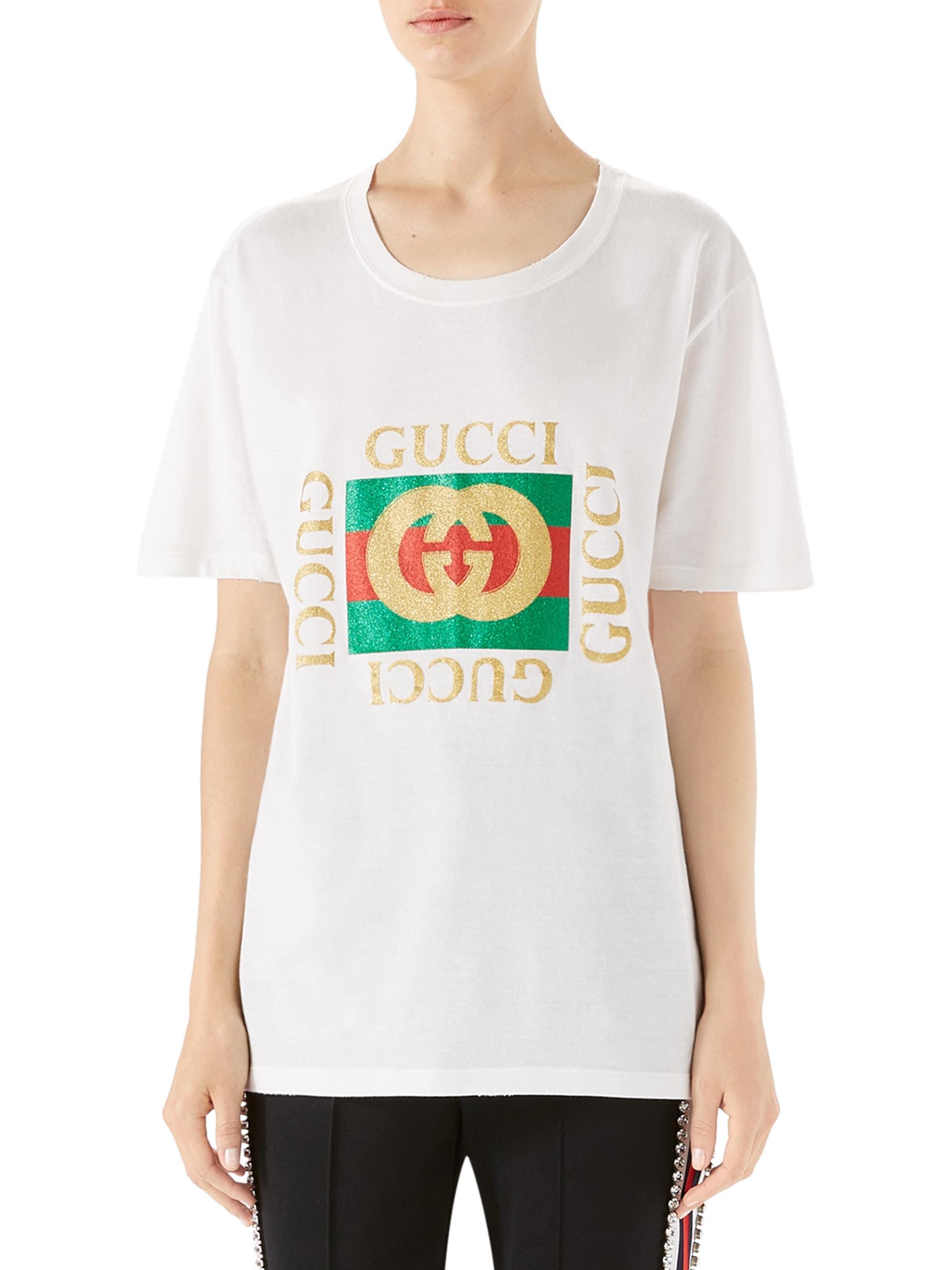 20efc00e5 Gucci Glitter-print Cotton Logo Tee in White - Lyst