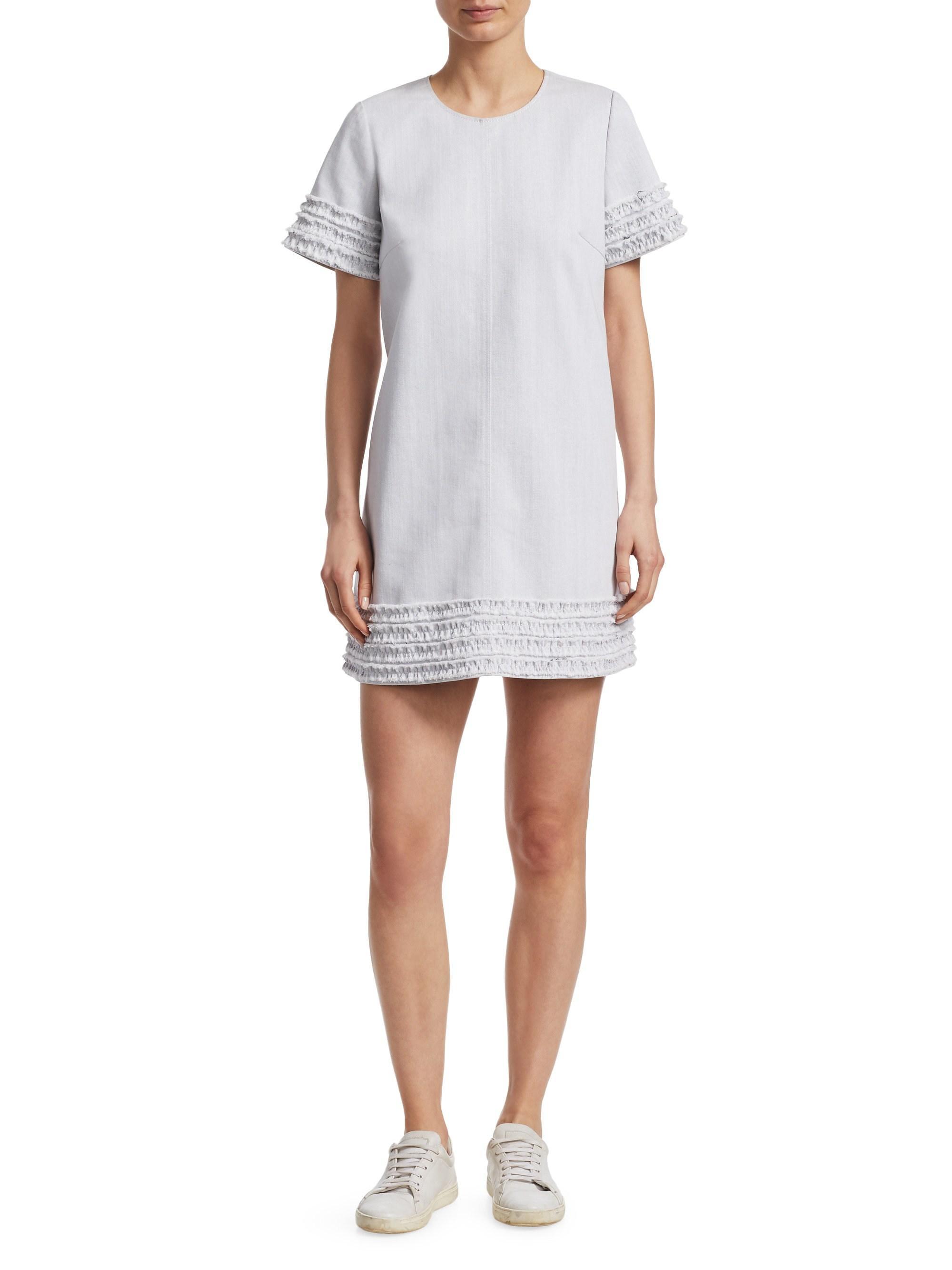 652bfd3298 Cinq À Sept - White Ashton Denim Shift Dress - Lyst. View fullscreen