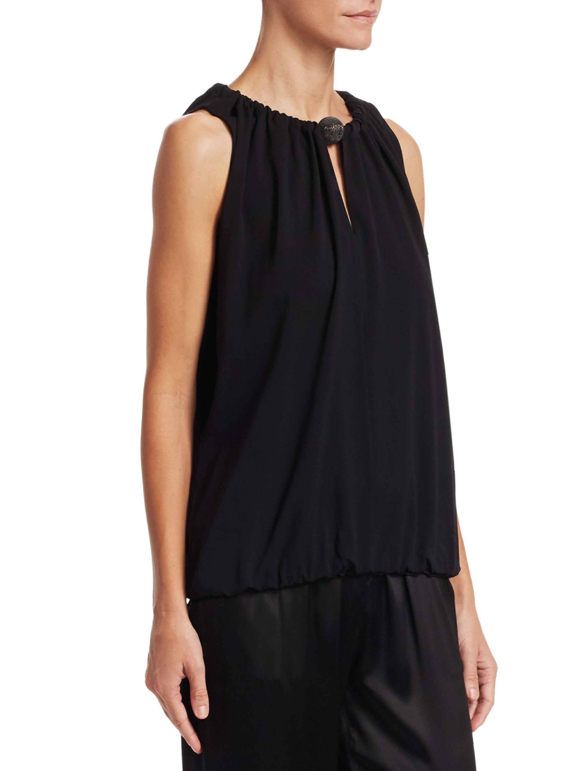 f8a0977d9d7a1 Lyst - Fabiana Filippi Women s Gathered Sleeveless Silk Popover Blouse -  Black - Size 44 (8) in Black