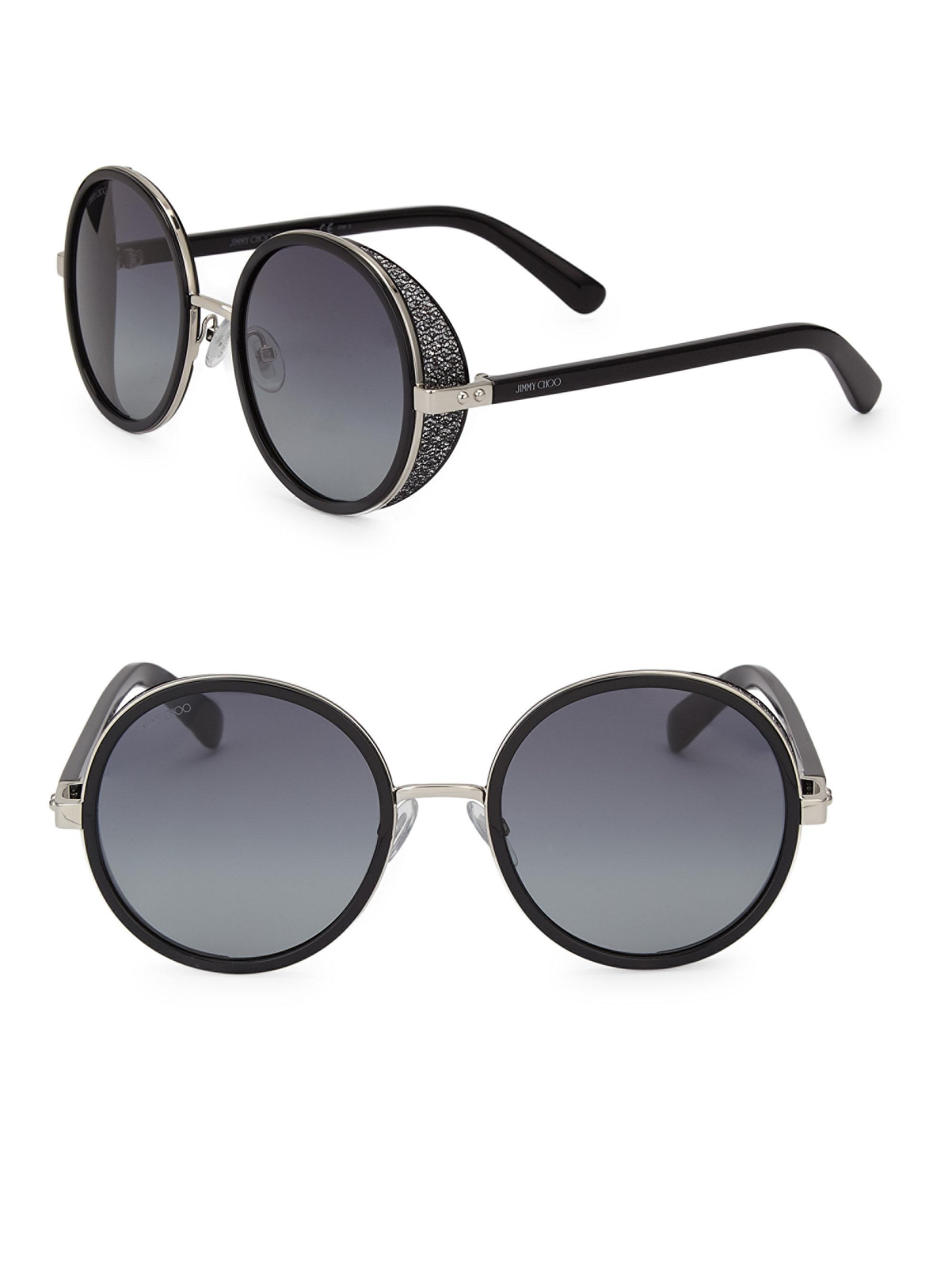 fc0452cf72e Jimmy Choo - Black Andie 54mm Round Crystal-detail Sunglasses - Lyst. View  fullscreen